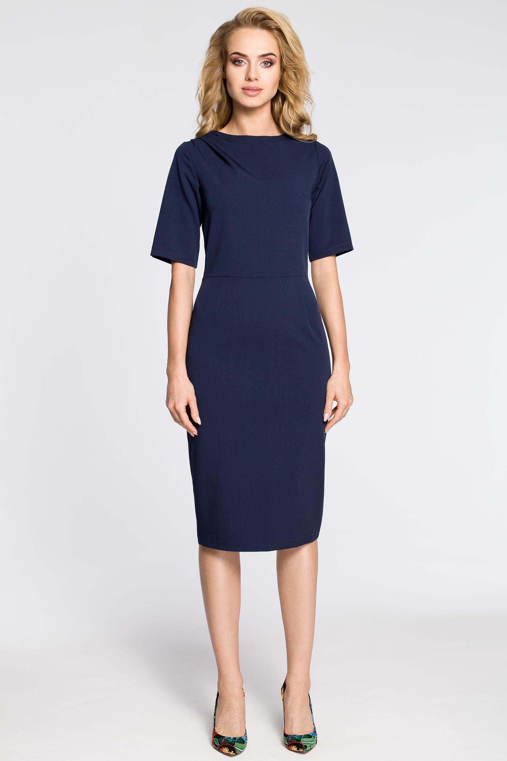 CM2682 Dopasowana sukienka ołówkowa za kolano - granatowa