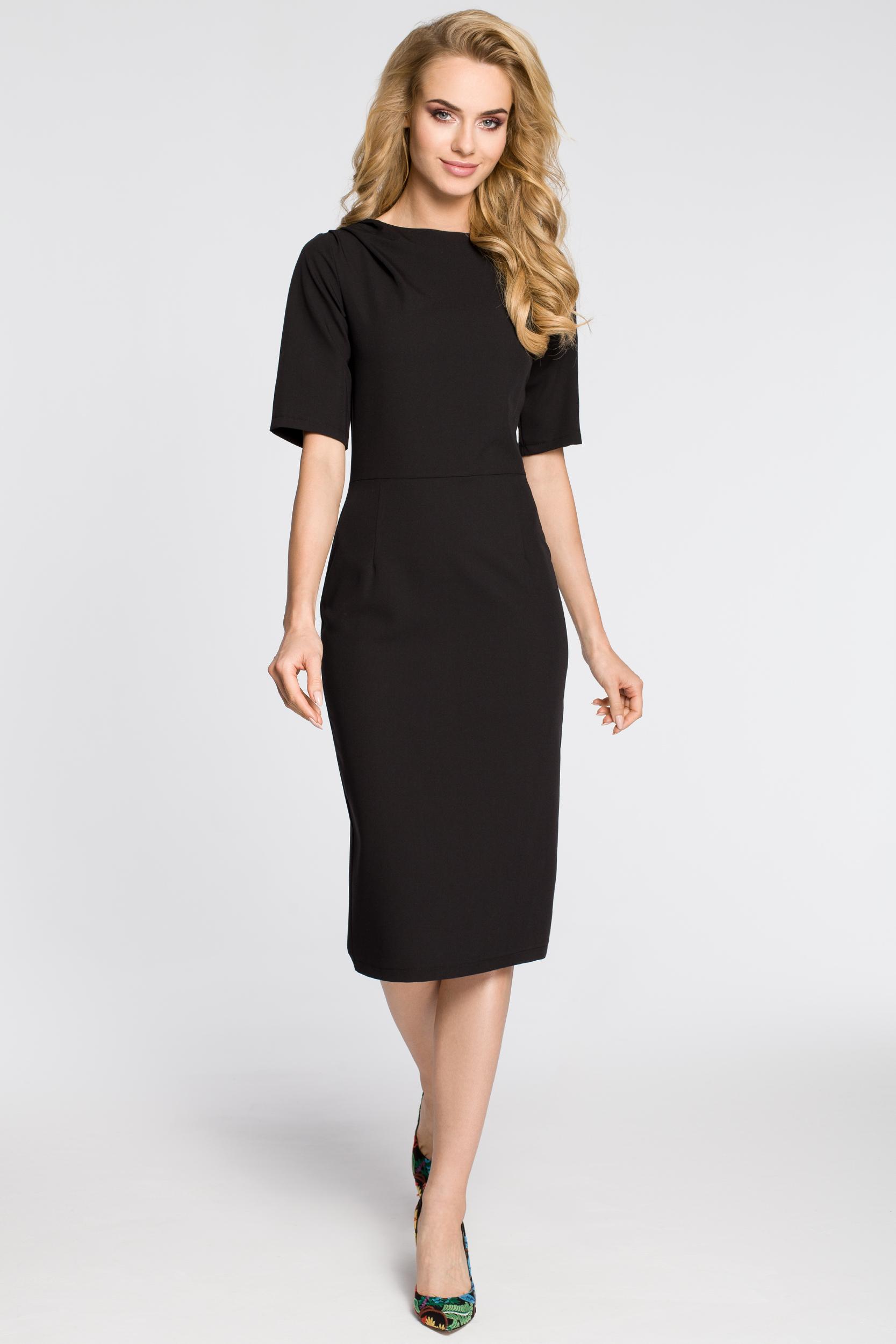 CM2682 Dopasowana sukienka ołówkowa za kolano - czarna