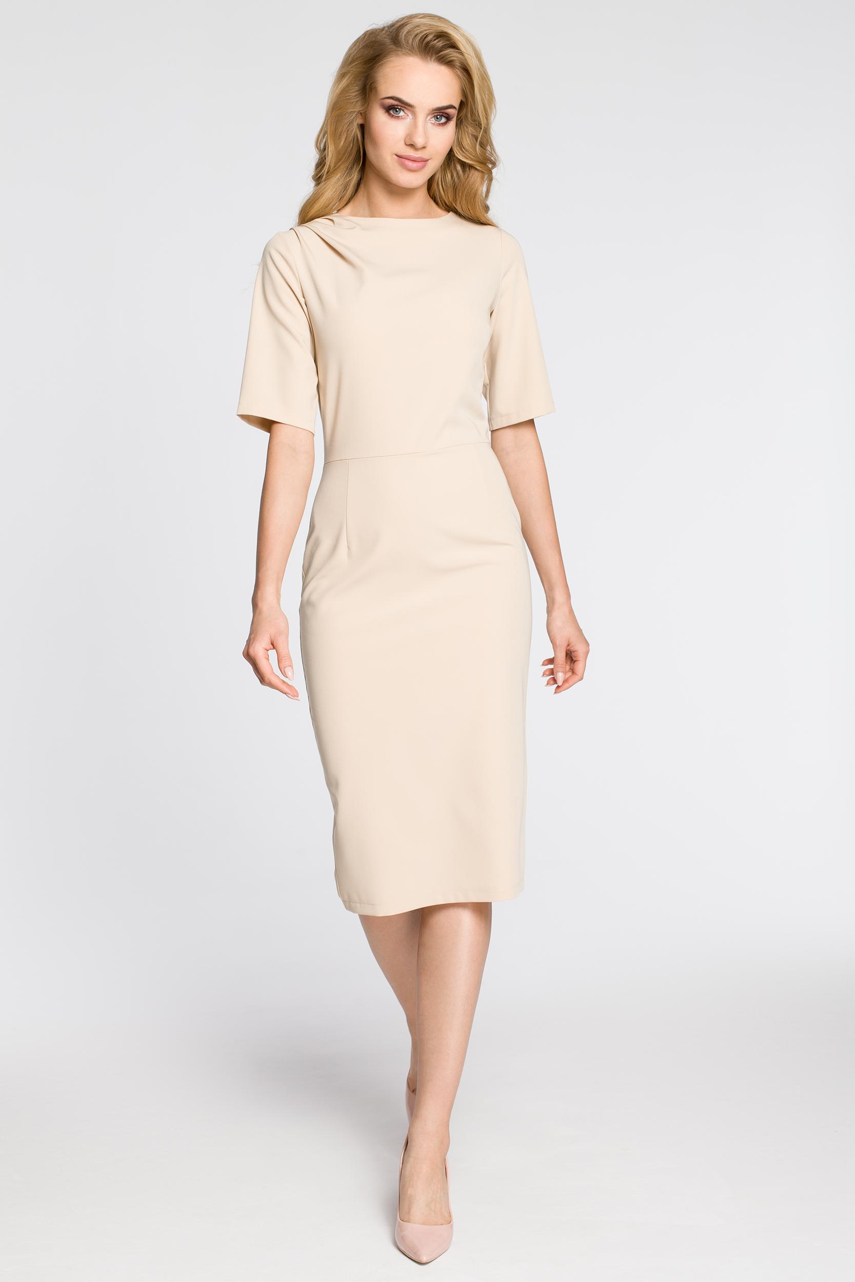CM2682 Dopasowana sukienka ołówkowa za kolano - beżowa