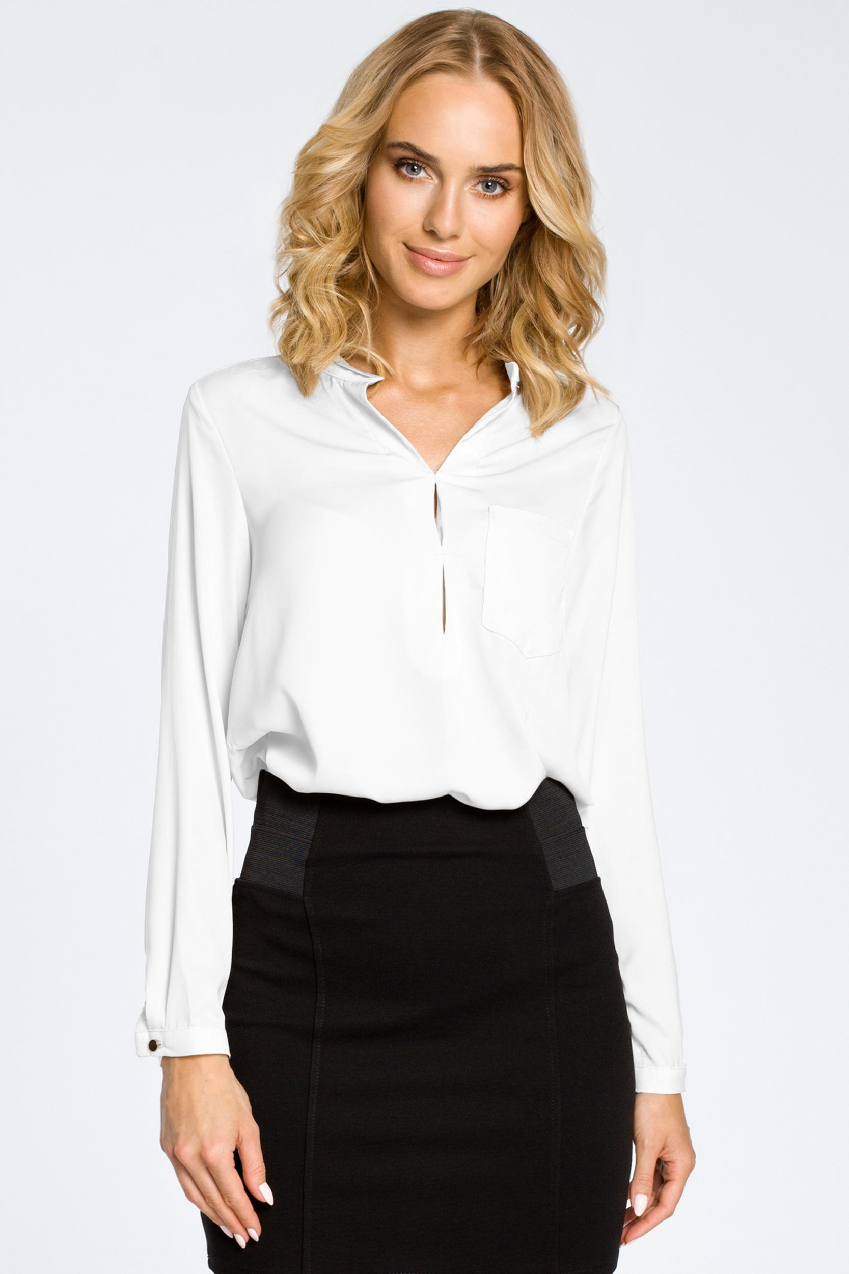 CM0661 Bluzka koszulowa ze stójka i kieszonką - biała