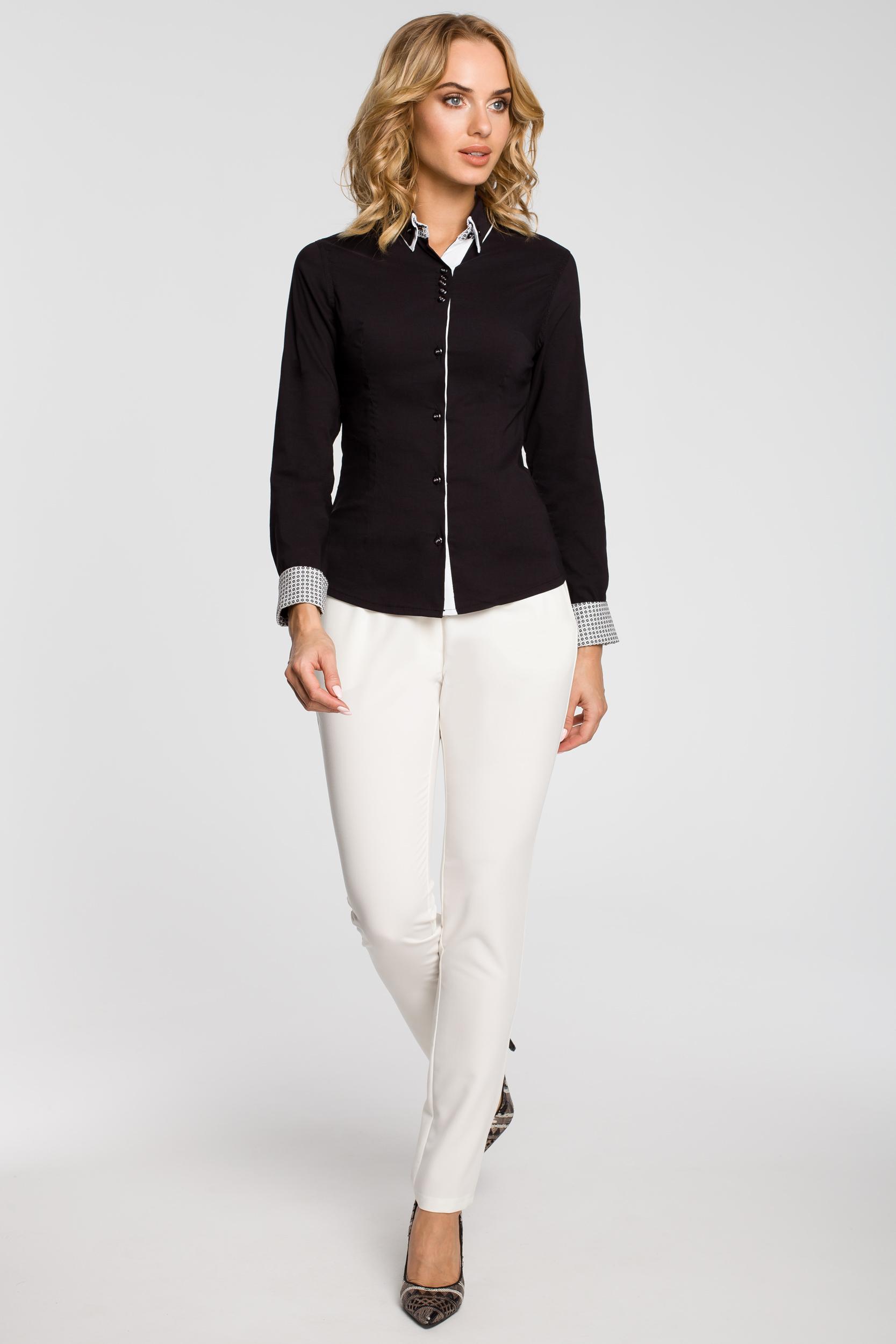 CM0665 Koszula damska z podwójnym kołnierzykiem w kontrastującym  kolorze - czarna