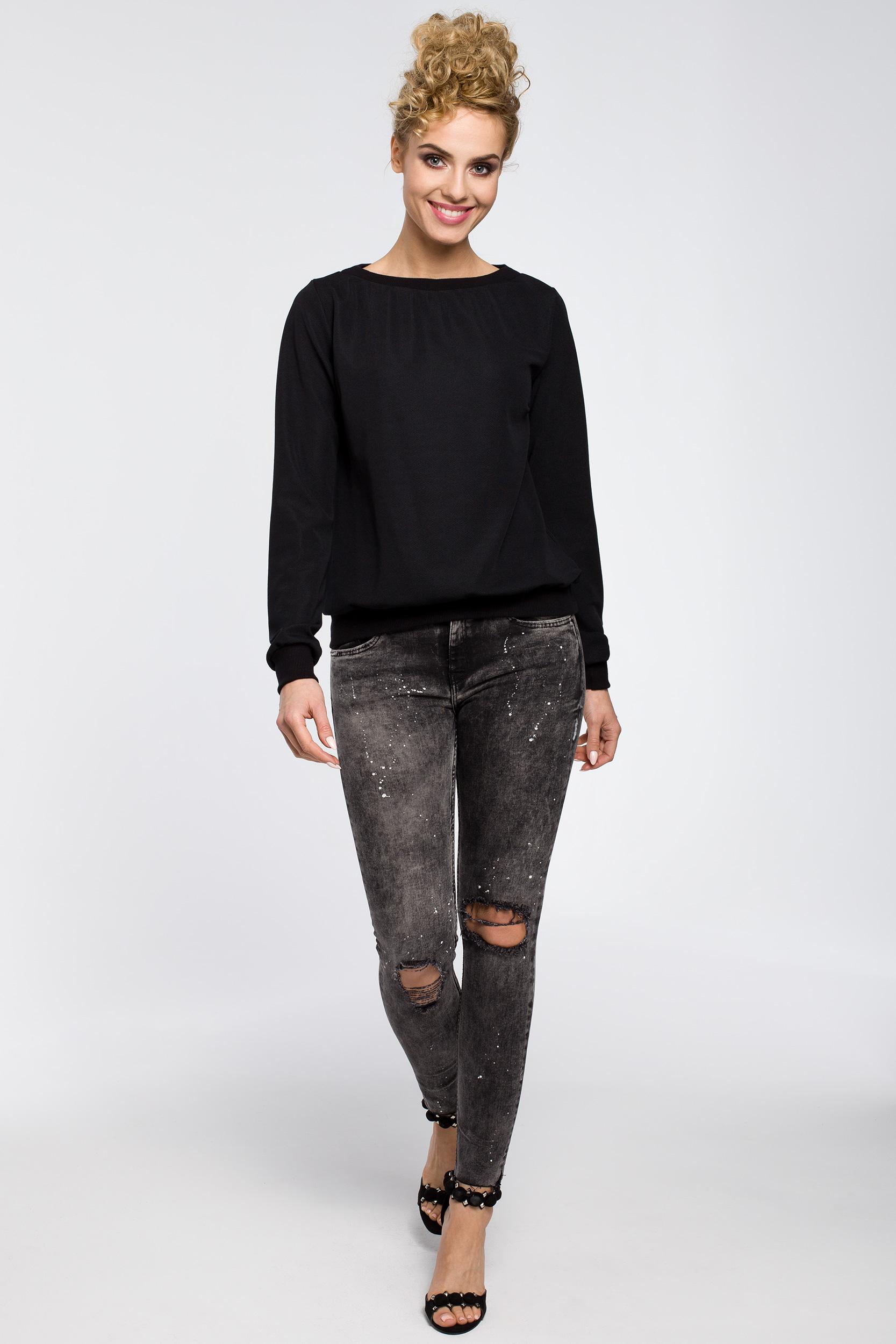 CM2576 Gładka elegancka bluza z długim rękawem - czarna