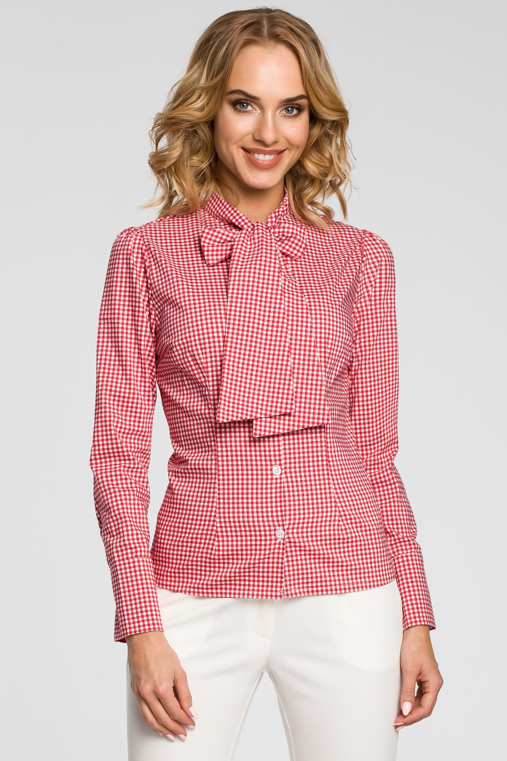 CM0787 Oryginalna koszula w kratkę z kokardą i długim rękawem - czerwona