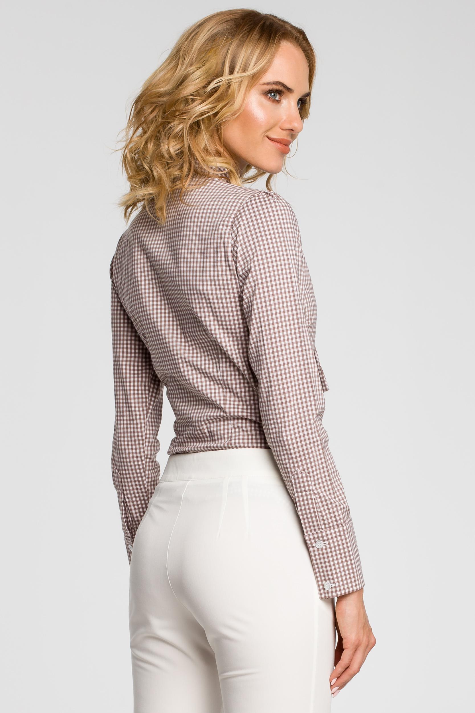 CM0787 Oryginalna koszula w kratkę z kokardą i długim rękawem - brązowa