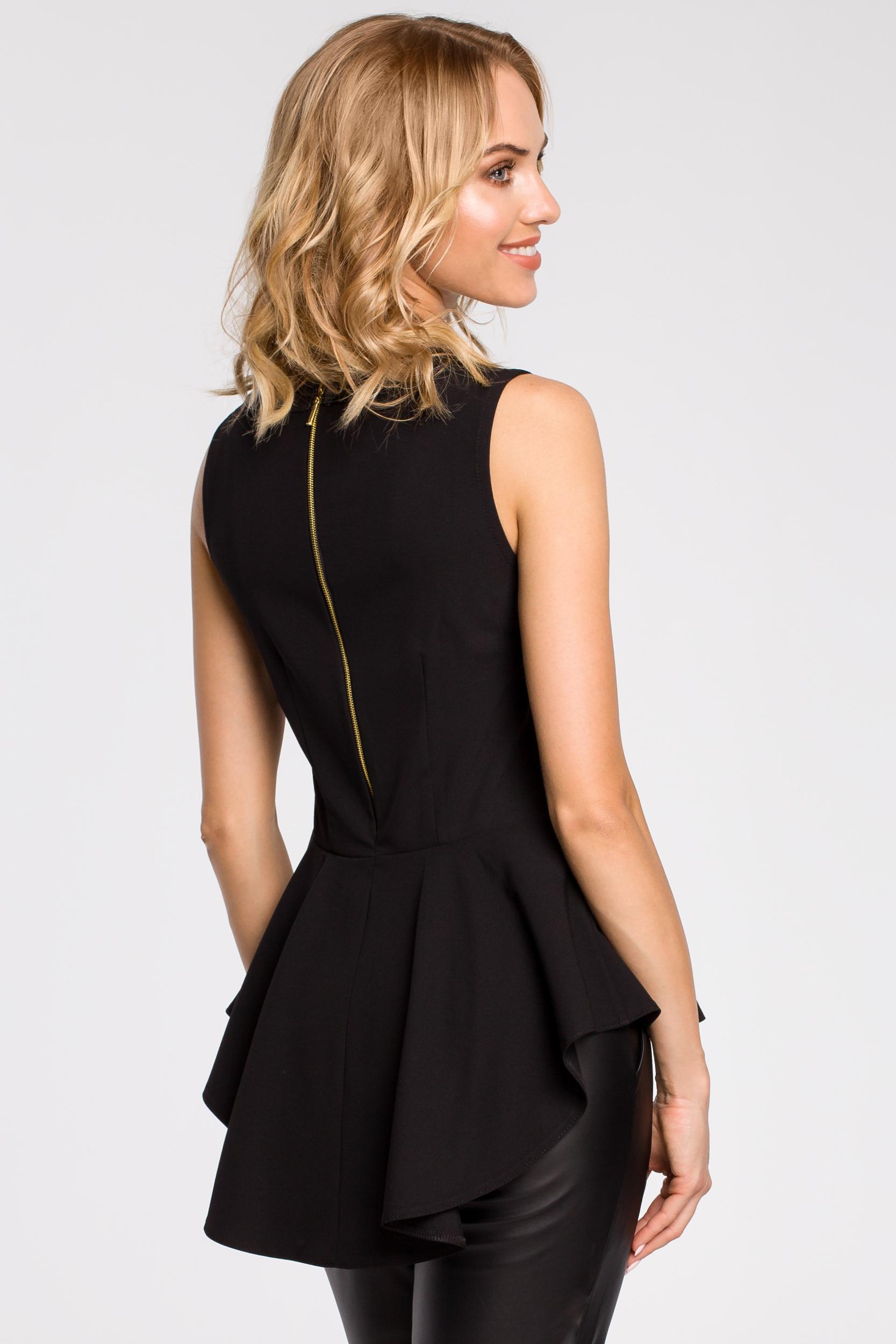 CM0791 Elegancka bluzka damska z tiulową wstawką i asymetrycznym tyłem - czarna
