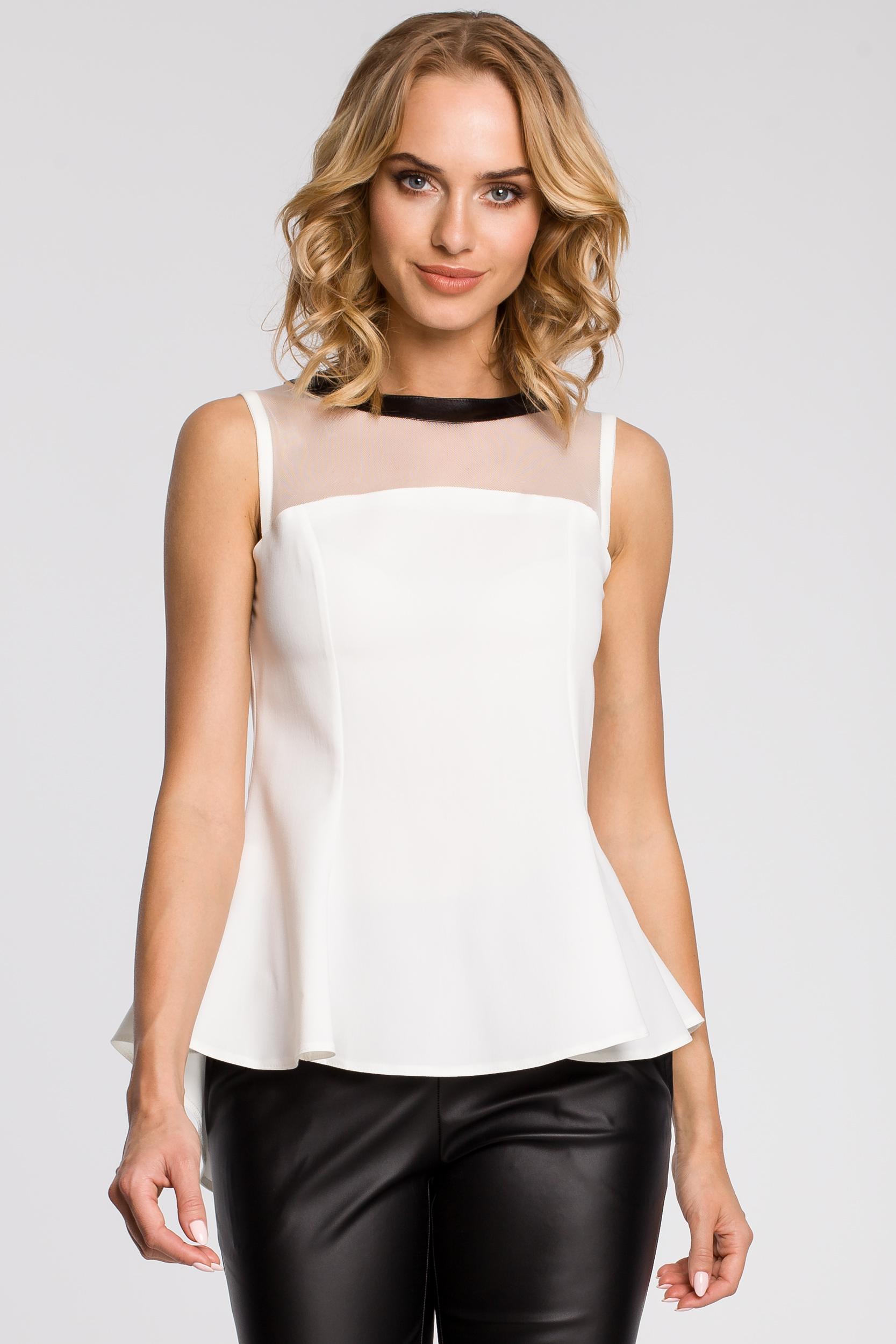 CM0791 Elegancka bluzka damska z tiulową wstawką i asymetrycznym tyłem - ecru