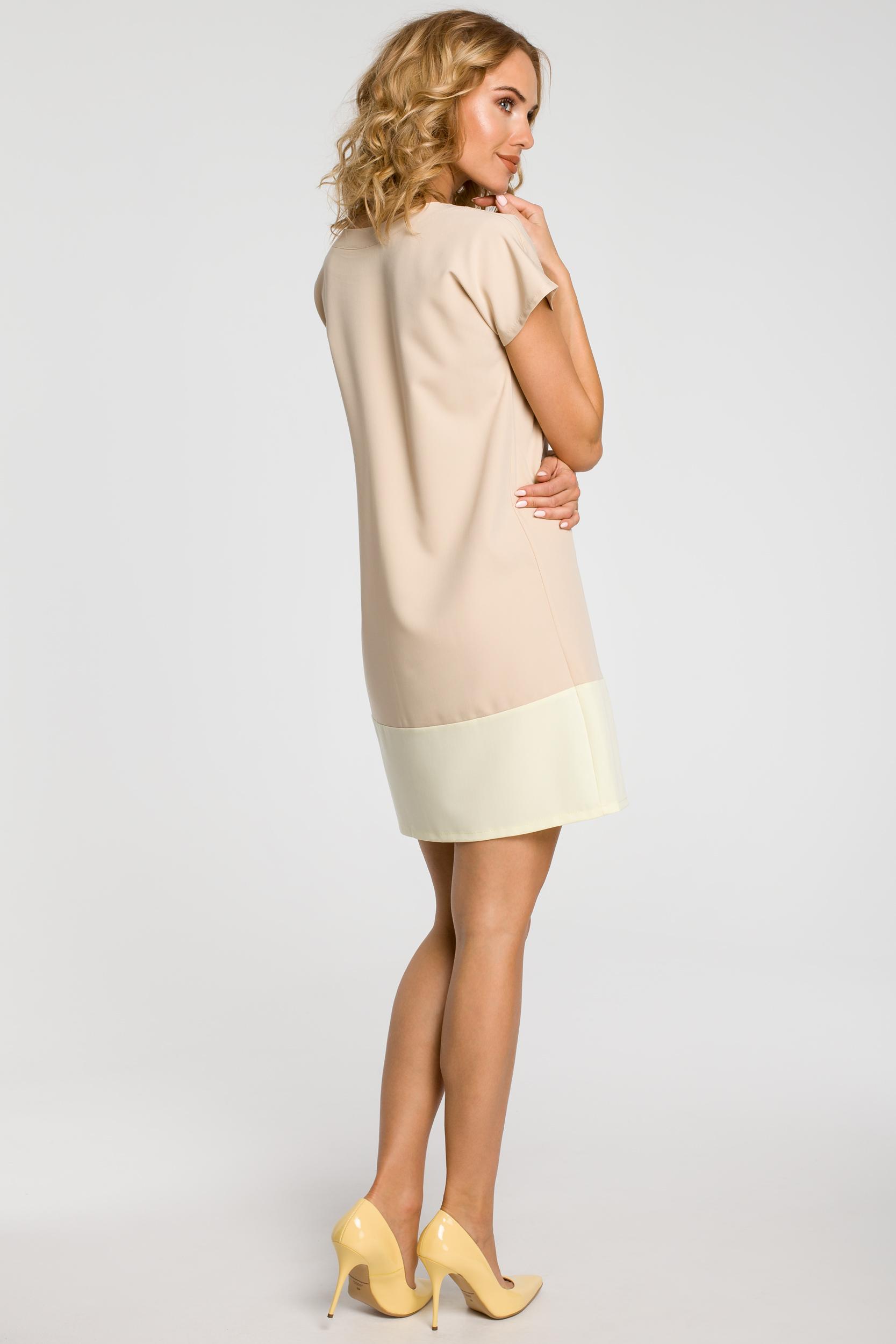 CM0818 Sukienka mini tunika z krótkim rękawkiem - beżowa