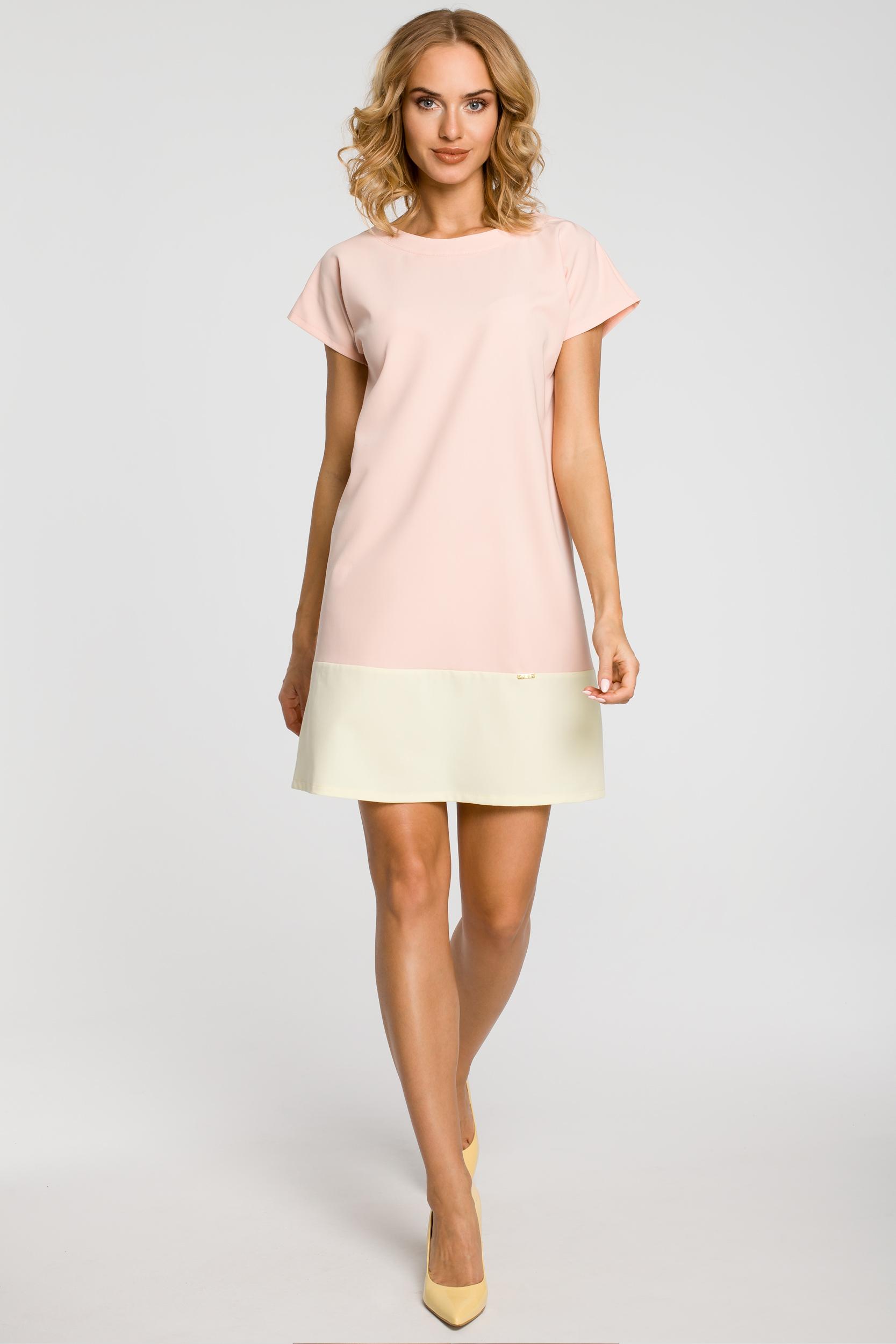CM0818 Sukienka mini tunika z krótkim rękawkiem - pudrowa
