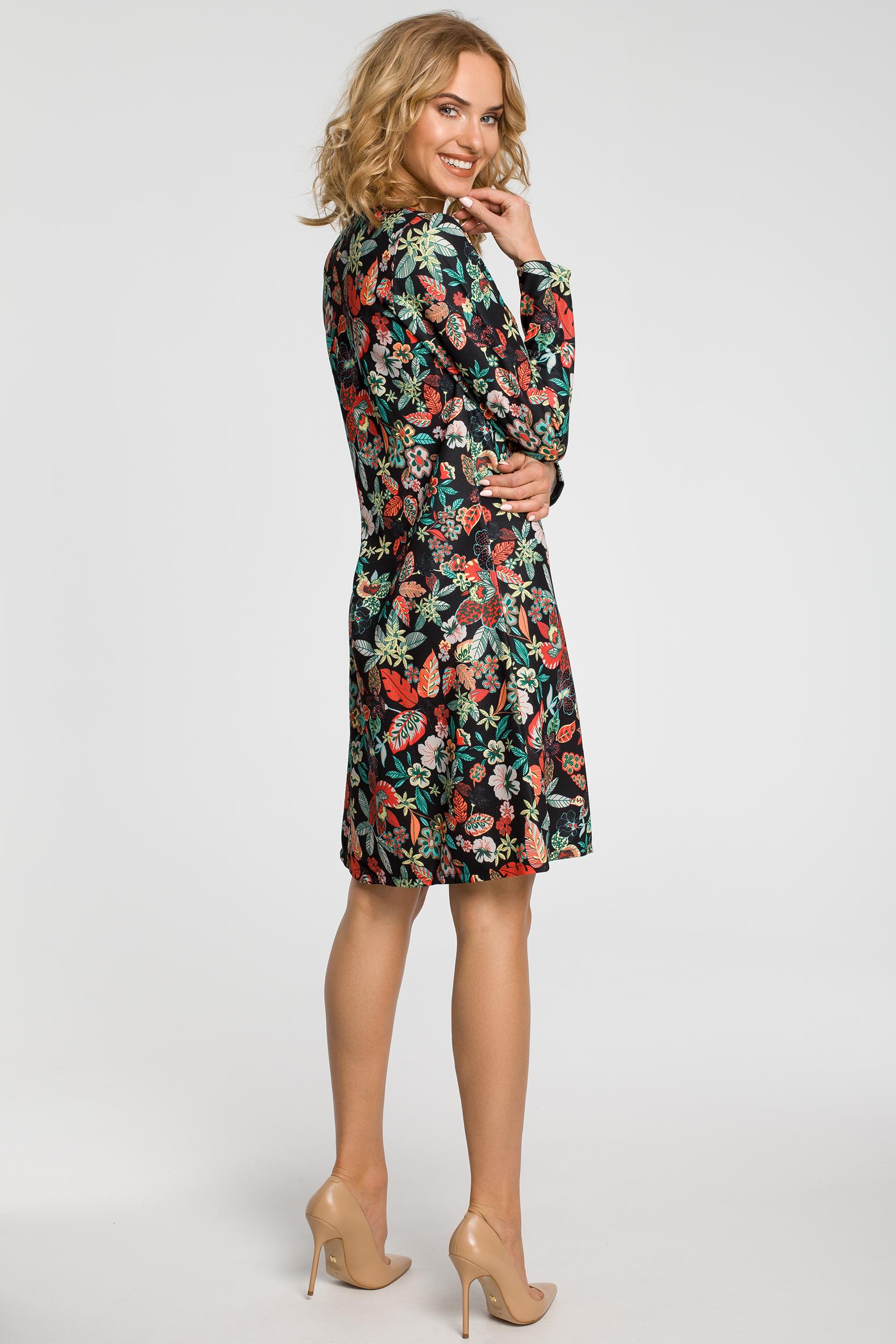CM2568 Trapezowa sukienka we wzory z długim rękawem - kwiaty