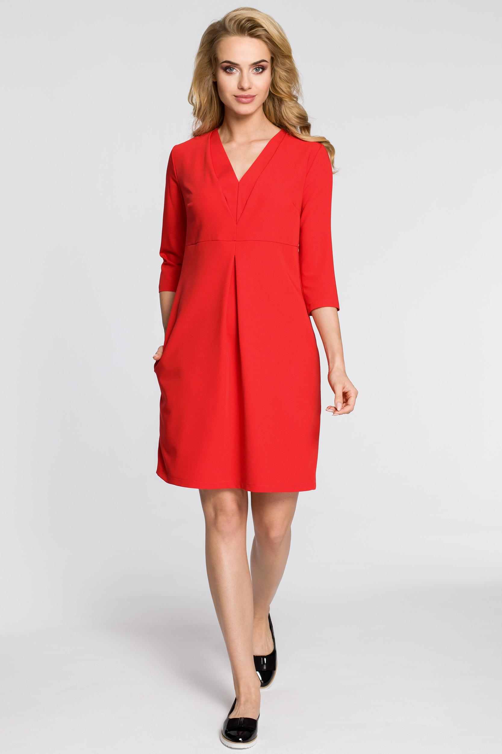 CM2562 Wieczorowa sukienka z podwójnym dekoltem - czerwona