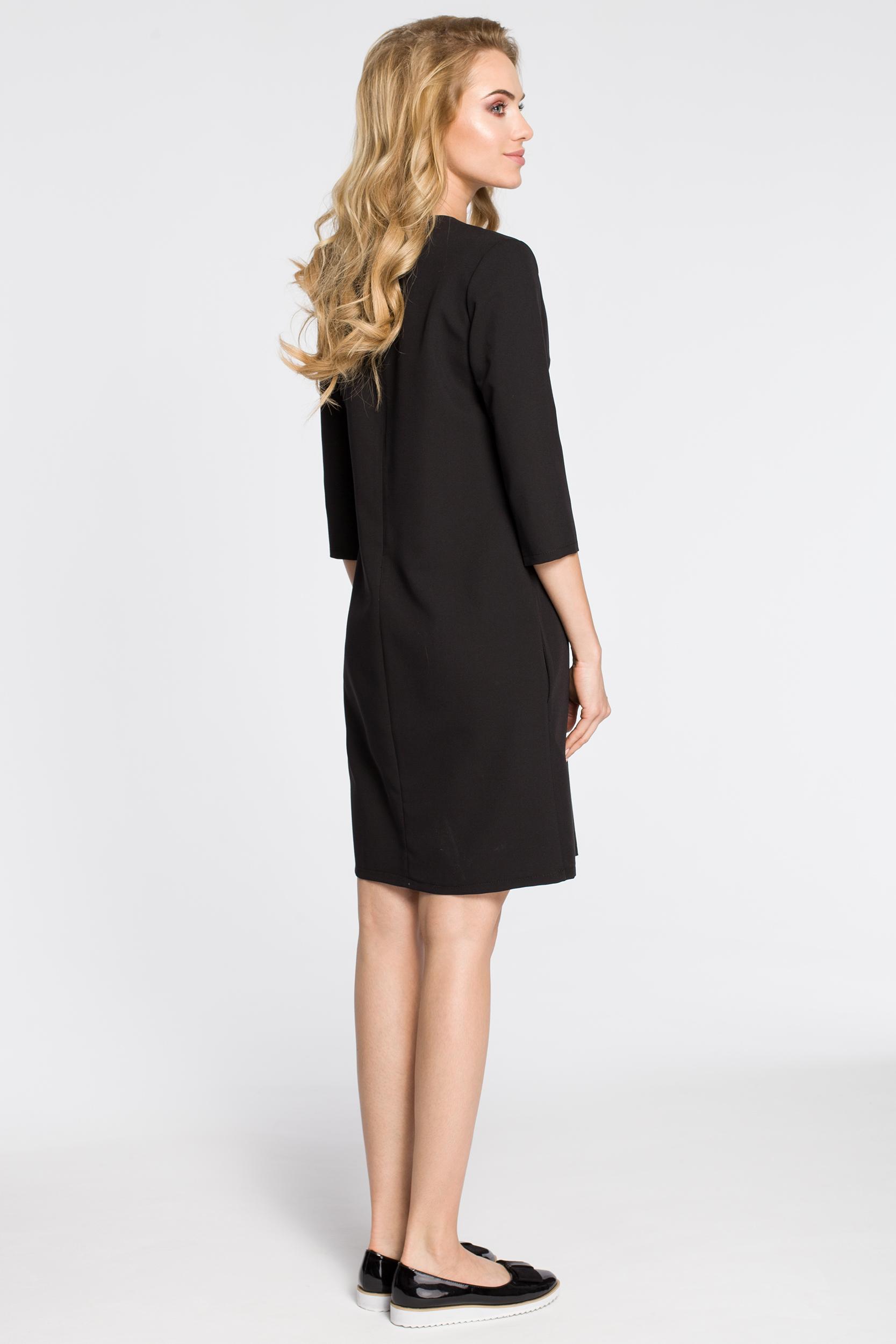 CM2562 Wieczorowa sukienka z podwójnym dekoltem - czarna