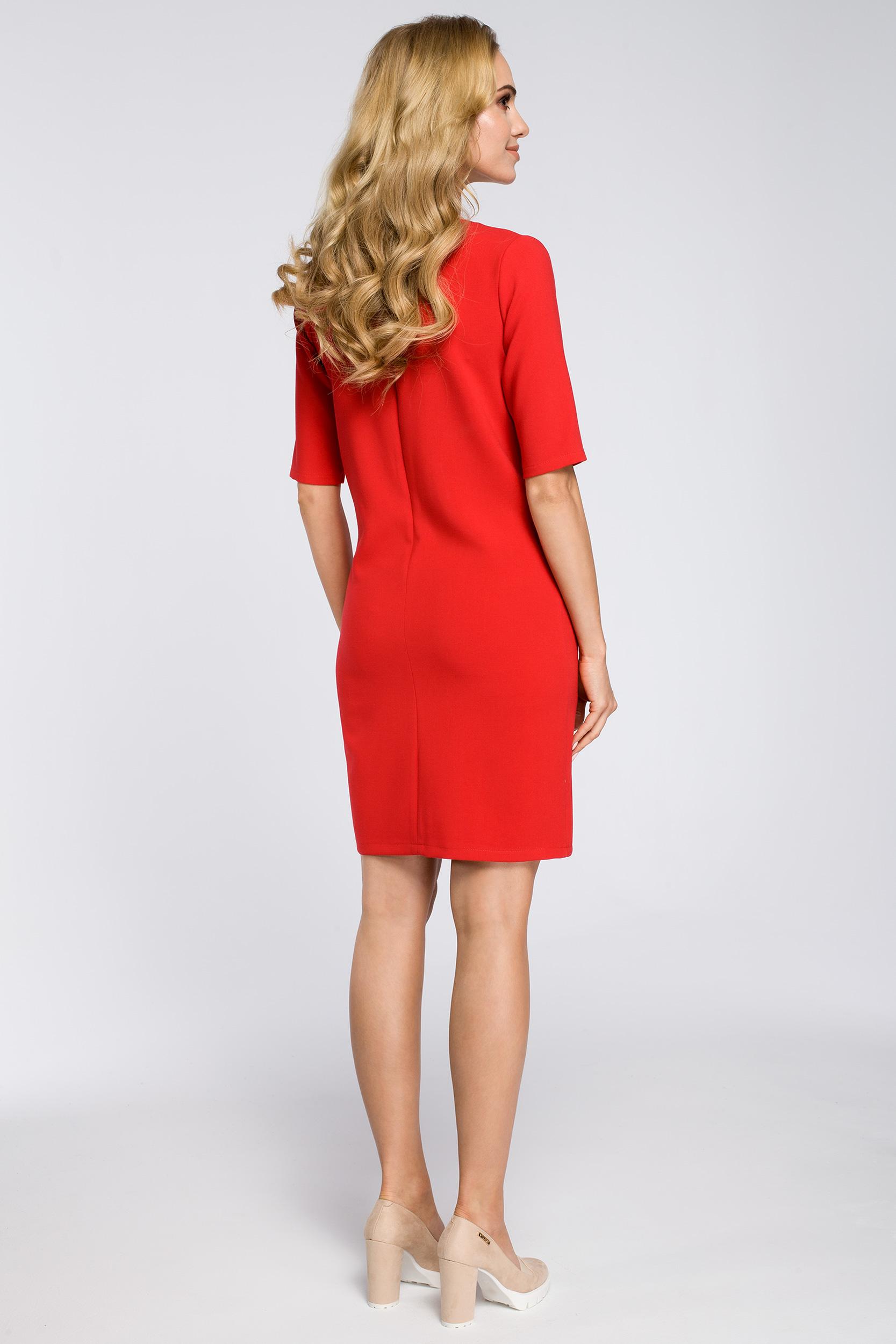 CM2561 Prosta sukienka z kieszeniami z przodu - czerwona