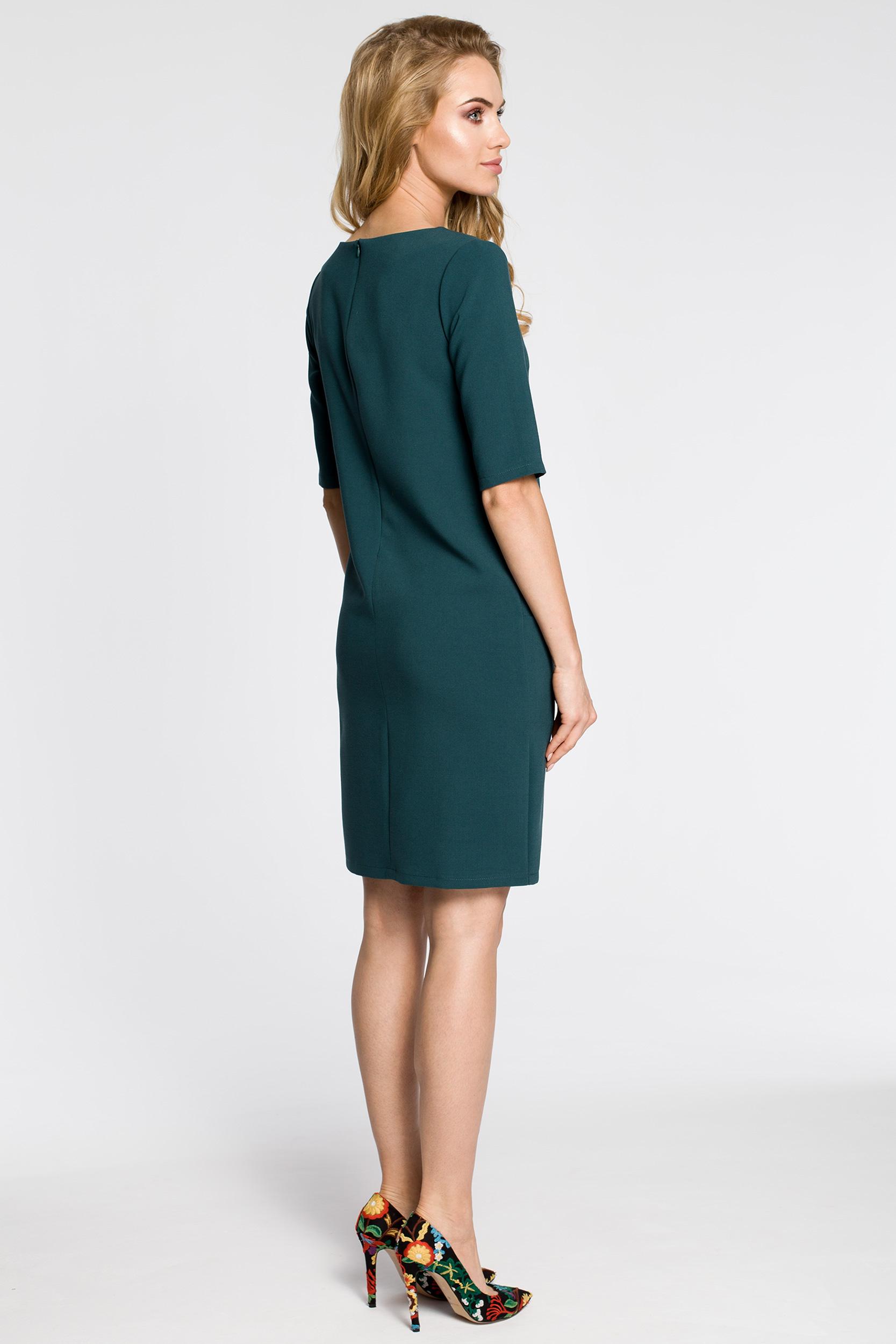 CM2561 Prosta sukienka z kieszeniami z przodu - zielona