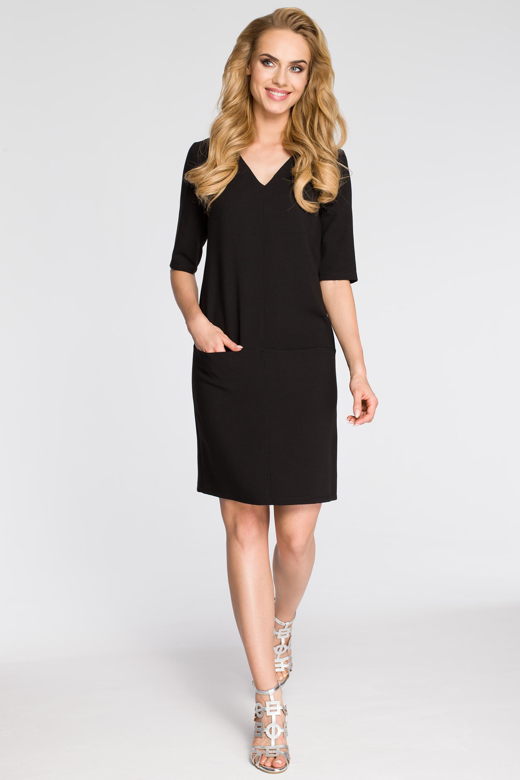 CM2561 Prosta sukienka z kieszeniami z przodu - czarna