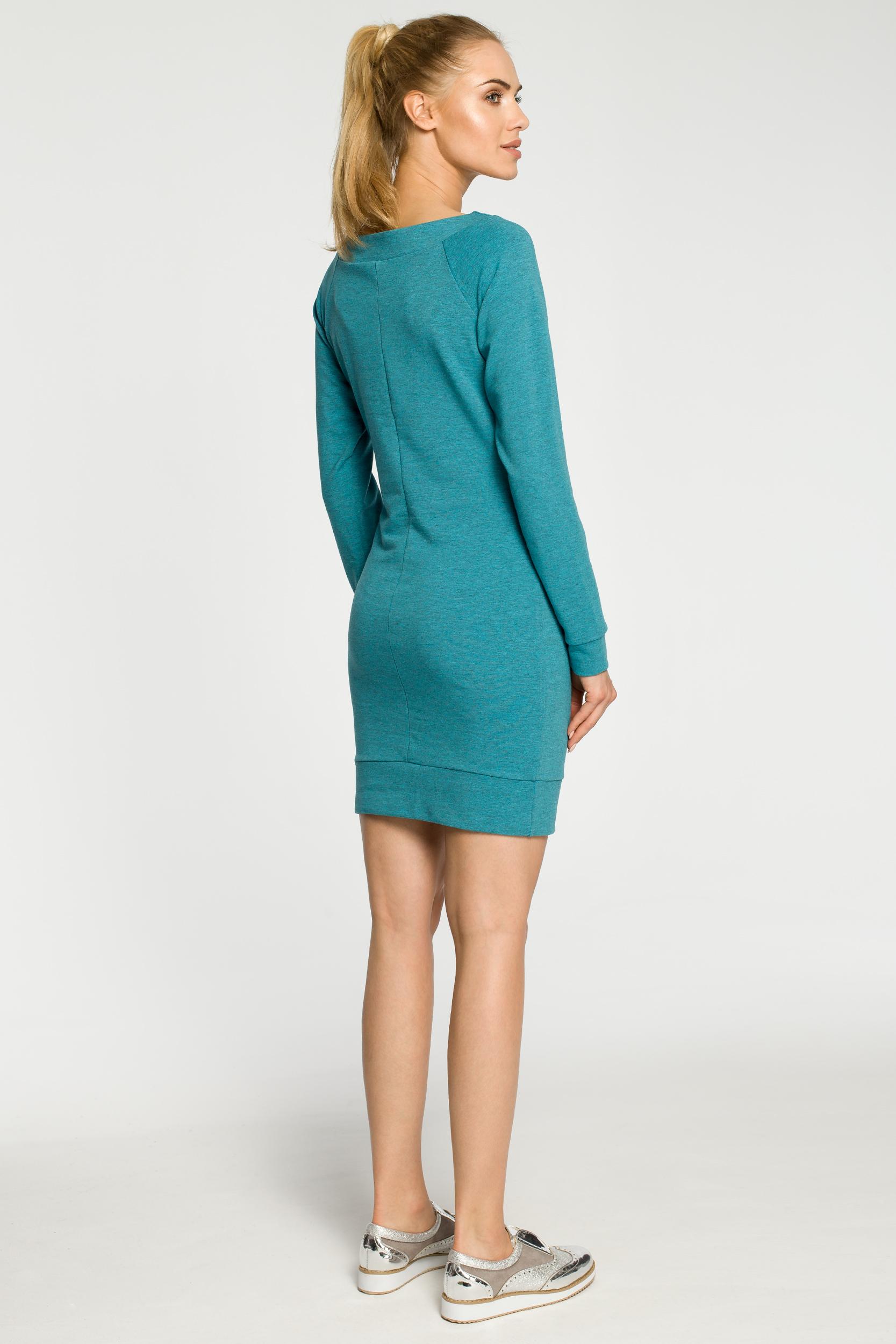 CM2463 Taliowana sukienka kangurka - szmaragdowa