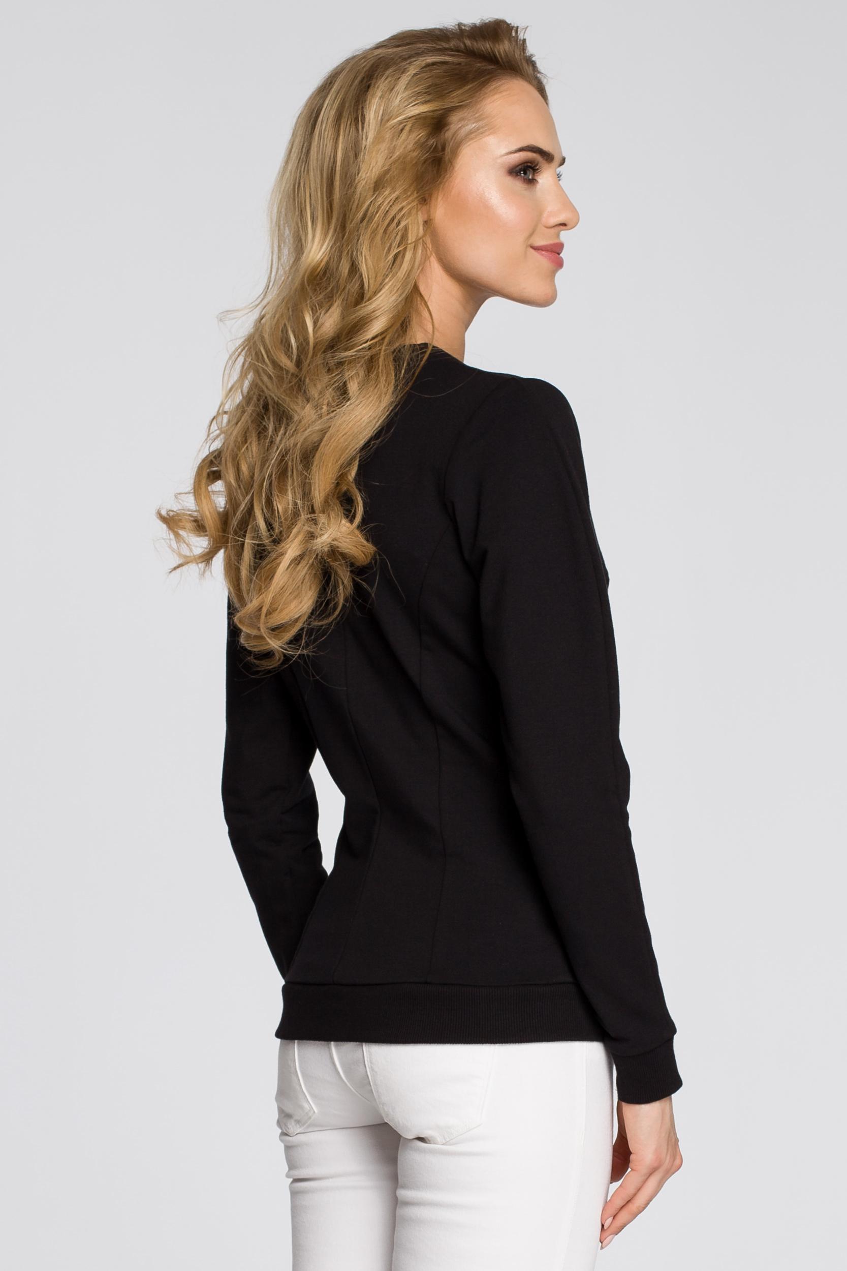 CM2455 Dresowa kurtka zasuwana na zamek - czarna
