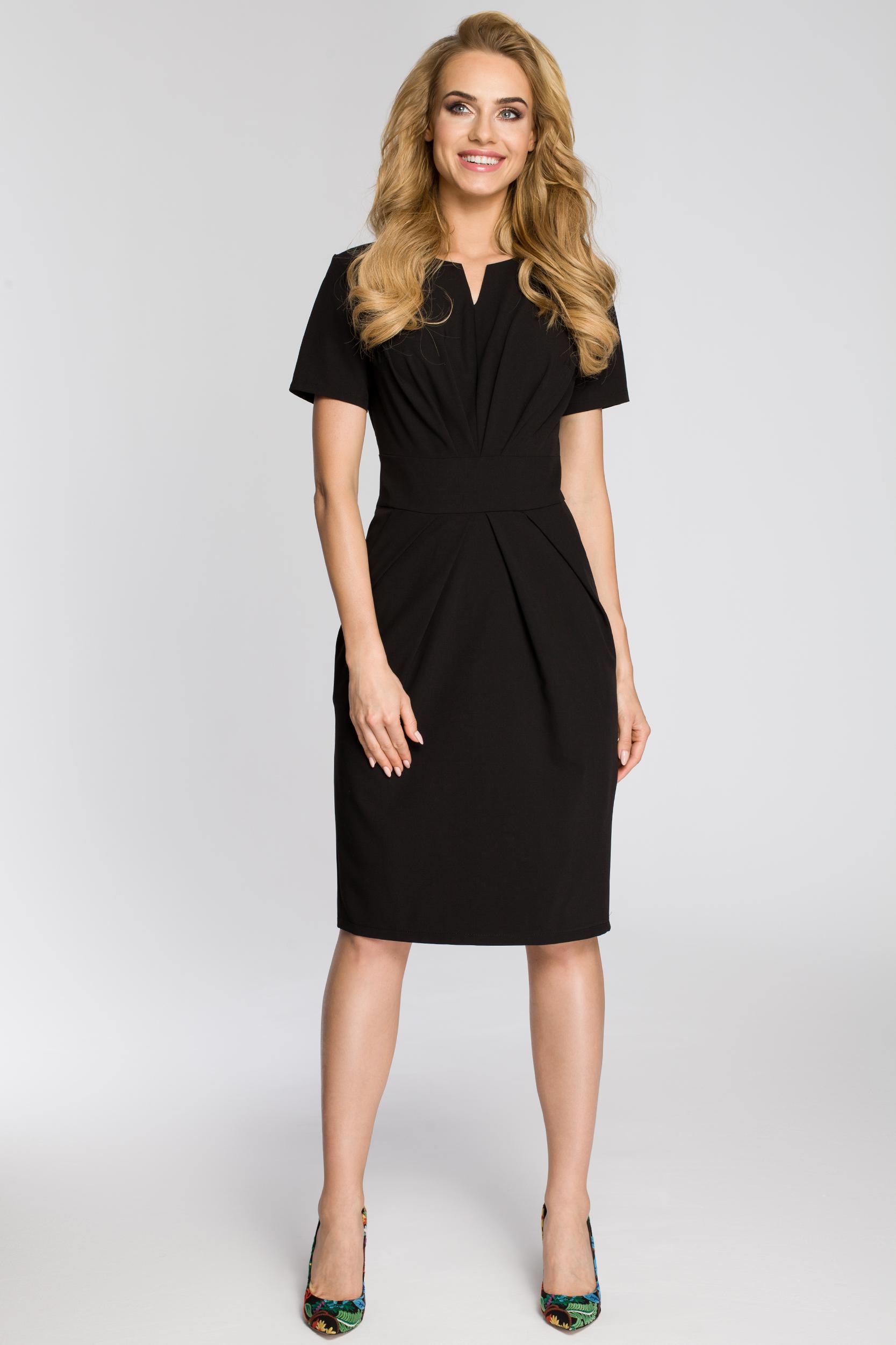 CM2349 Dopasowana przewiązana sukienka damska - czarna