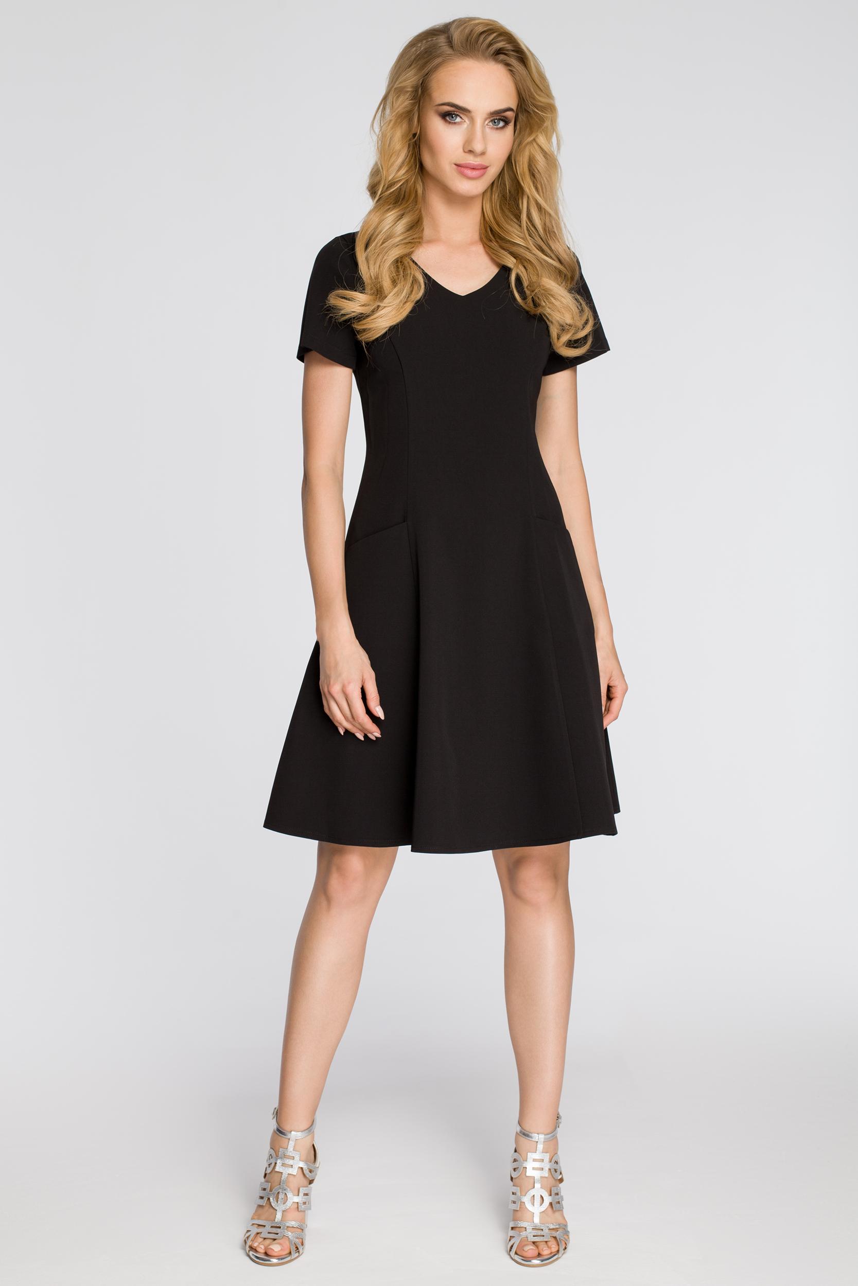 CM2348 Dopasowana sukienka z rozkloszowanym dołem - czarna