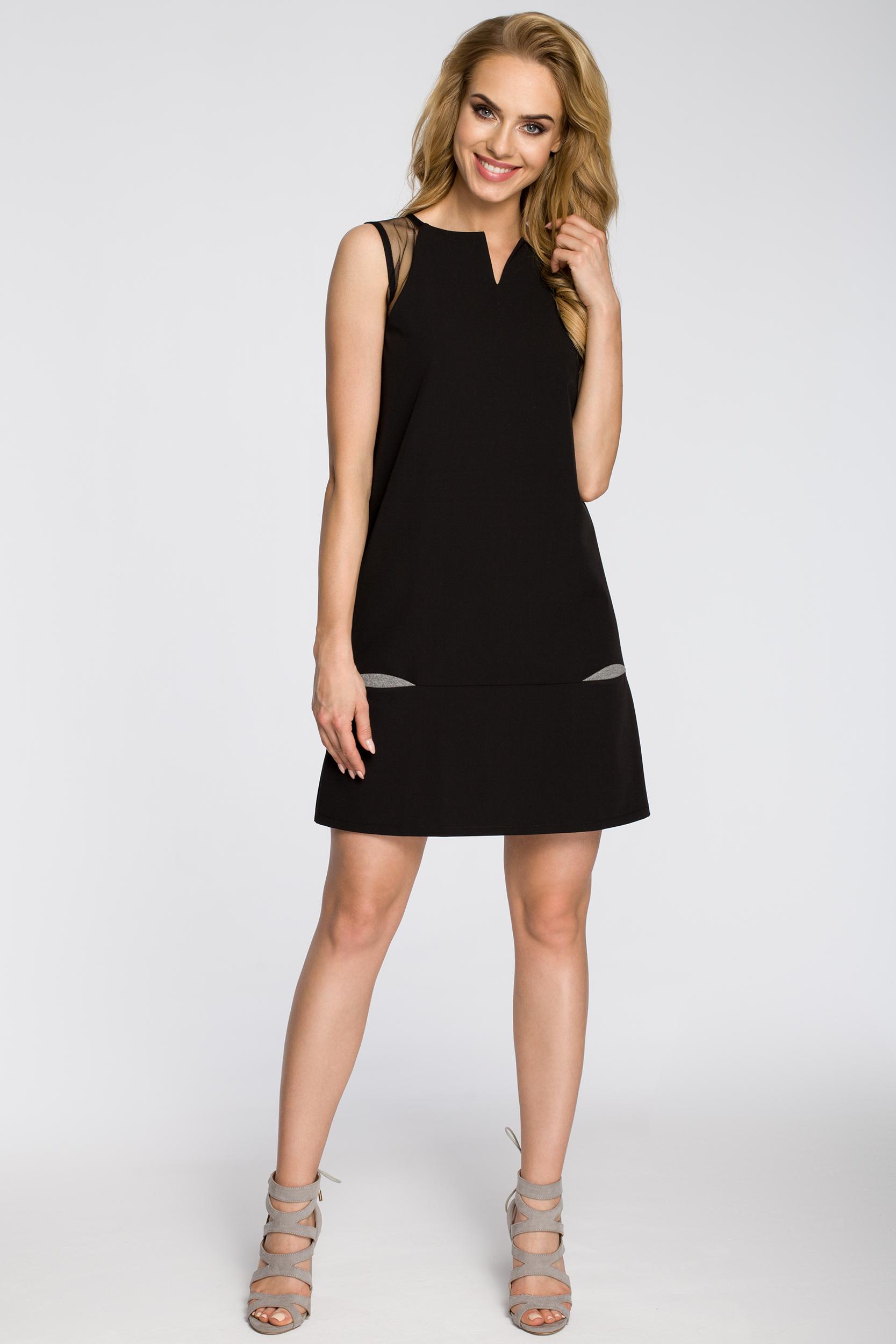 CM2347 Prosta sukienka damska bez rękawów - czarna