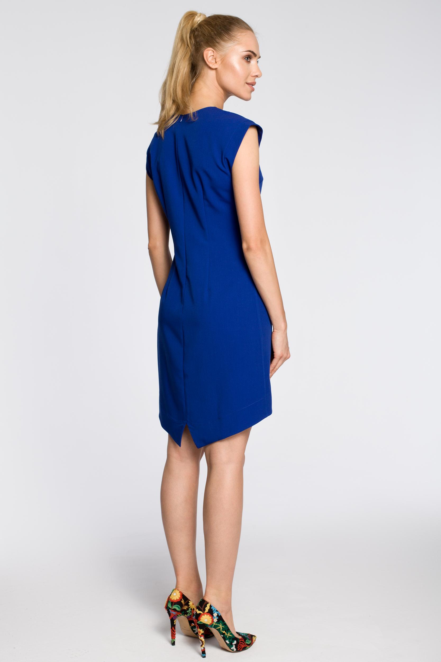 CM2346 Asymetryczna sukienka damska bez rękawów - chabrowa