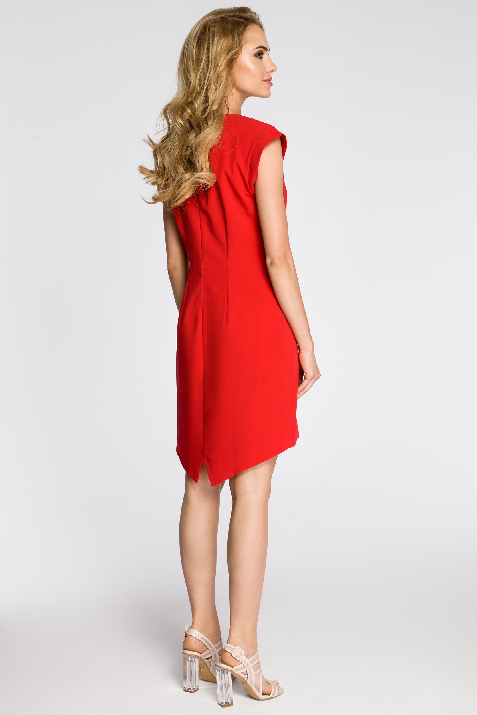 CM2346 Asymetryczna sukienka damska bez rękawów - czerwona