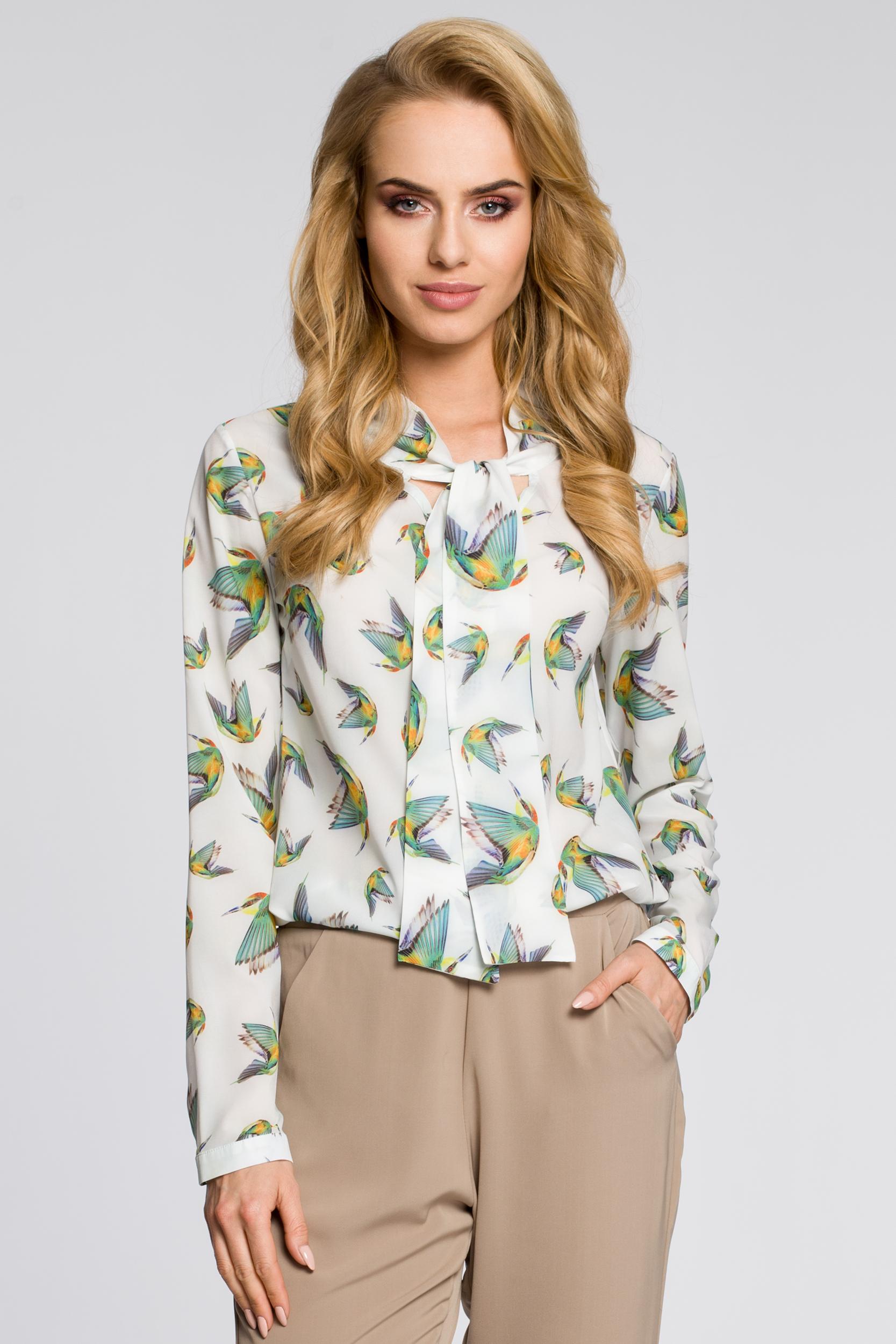 CM2226 Kobieca bluzka koszulowa z kolibrami - ecru