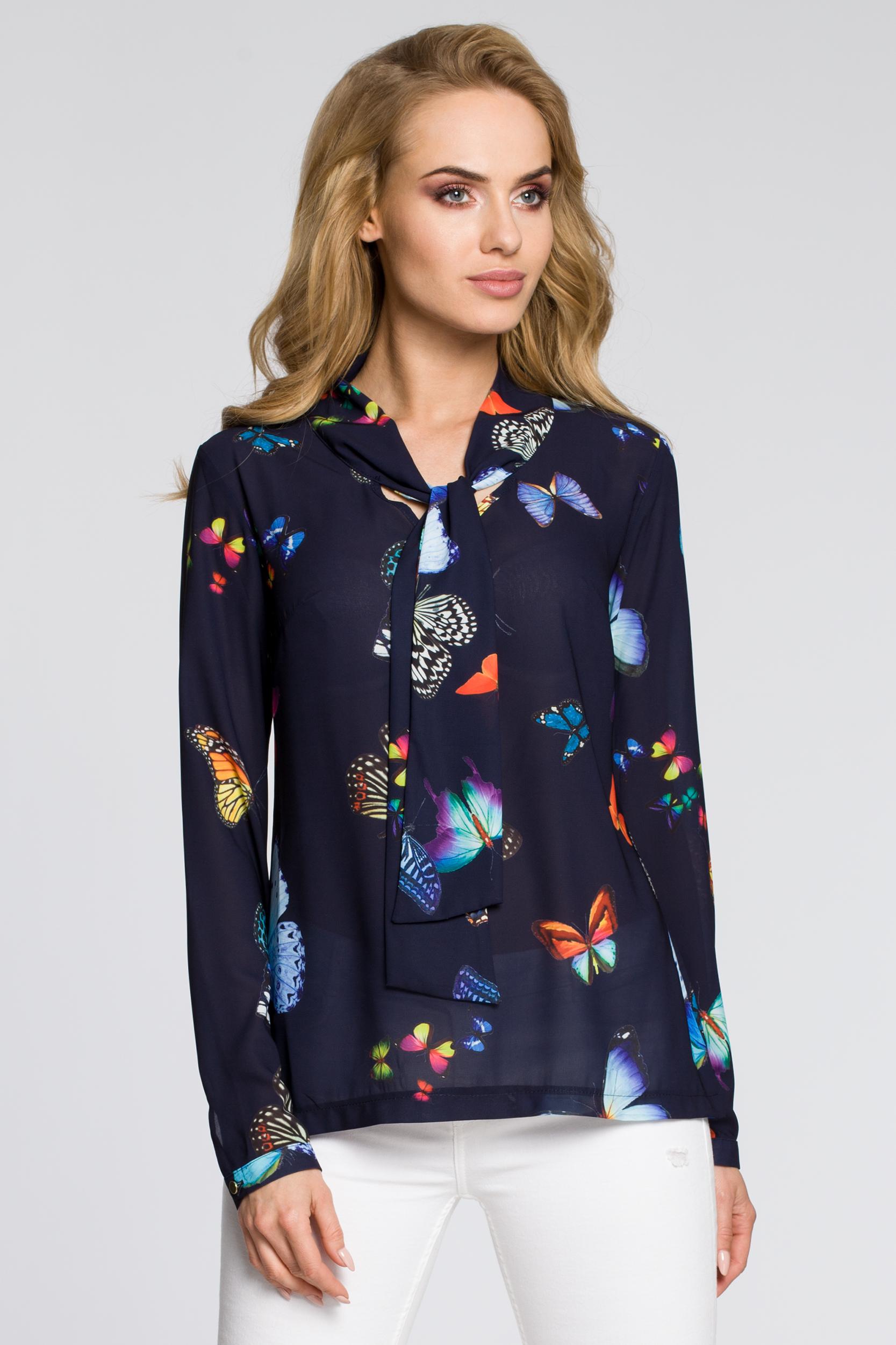 CM2225 Bluzka koszulowa z plisą w motyle - granatowa