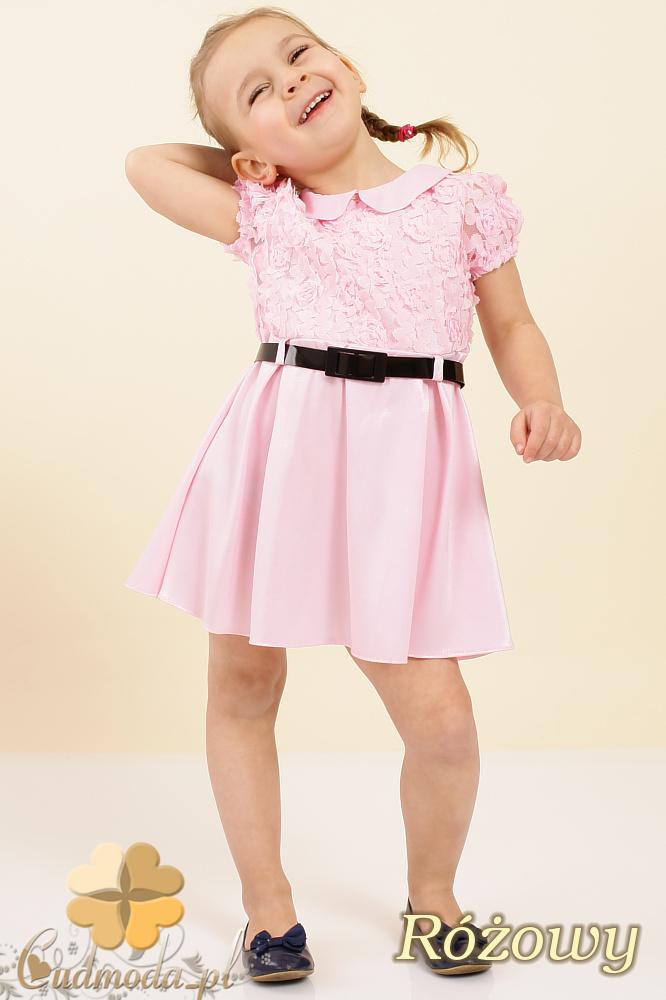 MA011 Dziecięca sukienka satynowa z kołnierzykiem - różowa OUTLET