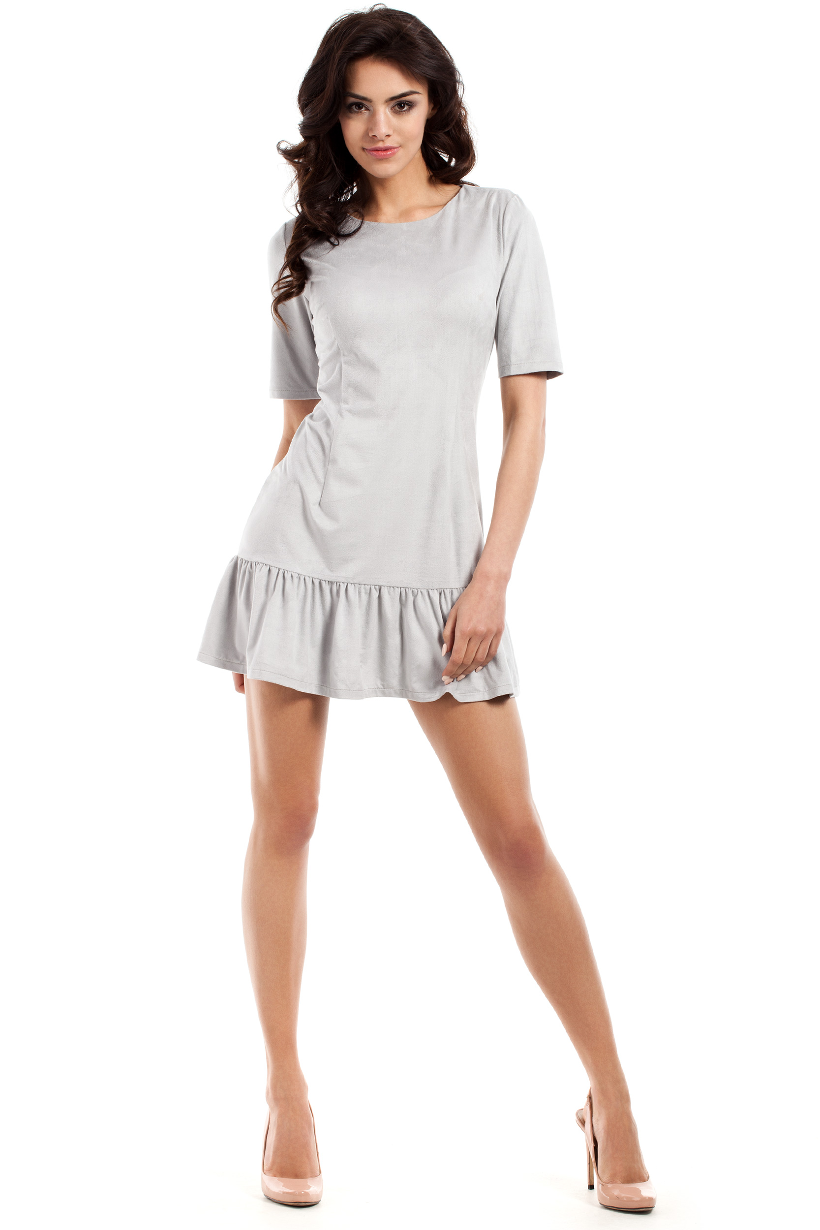 CM2224 Stylowa sukienka mini z falbanką - szara