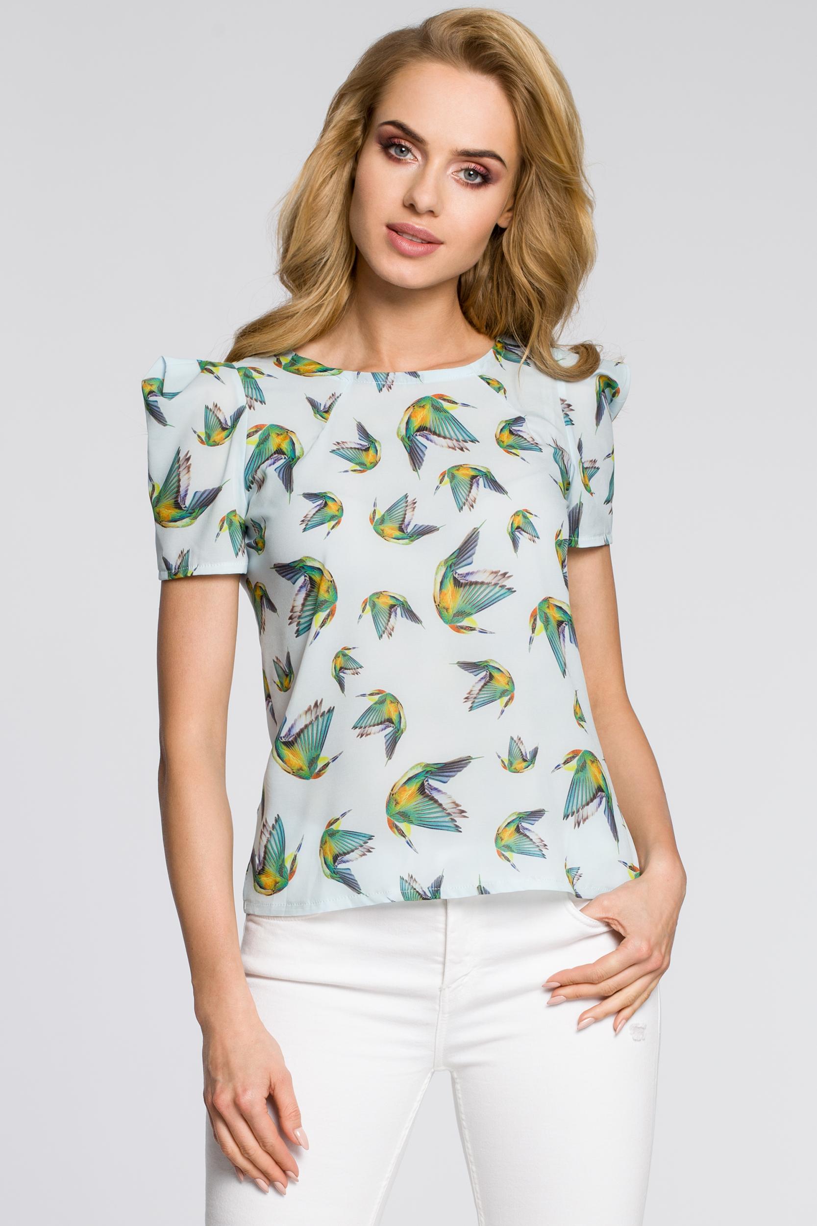 CM2223 Damska koszulka w kolibry - błękitna