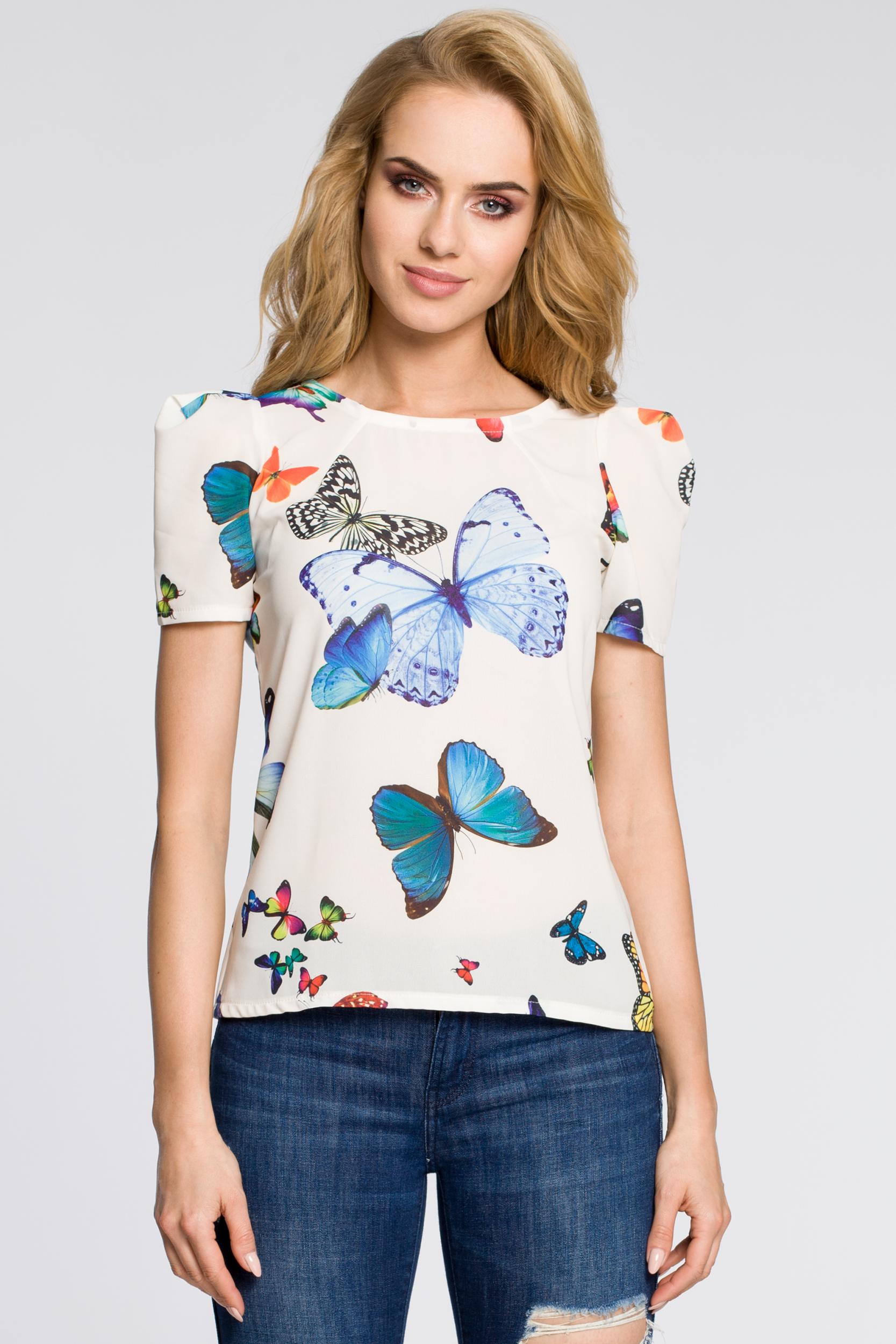 CM2222 Zwiewna bluzka z bufkami w motyle - ecru