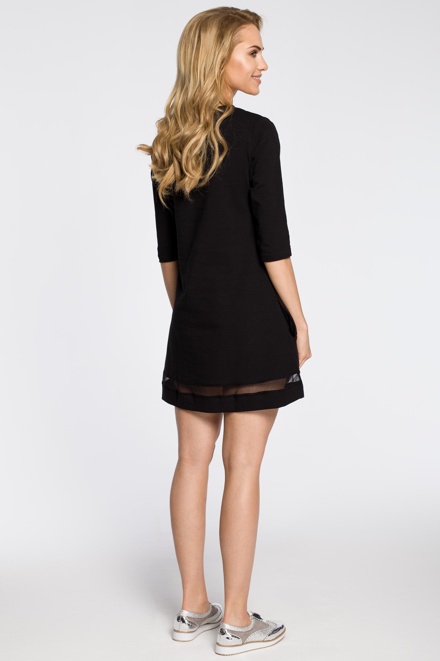 CM2221 Dzianinowa sukienka z tiulową wstawką - czarna
