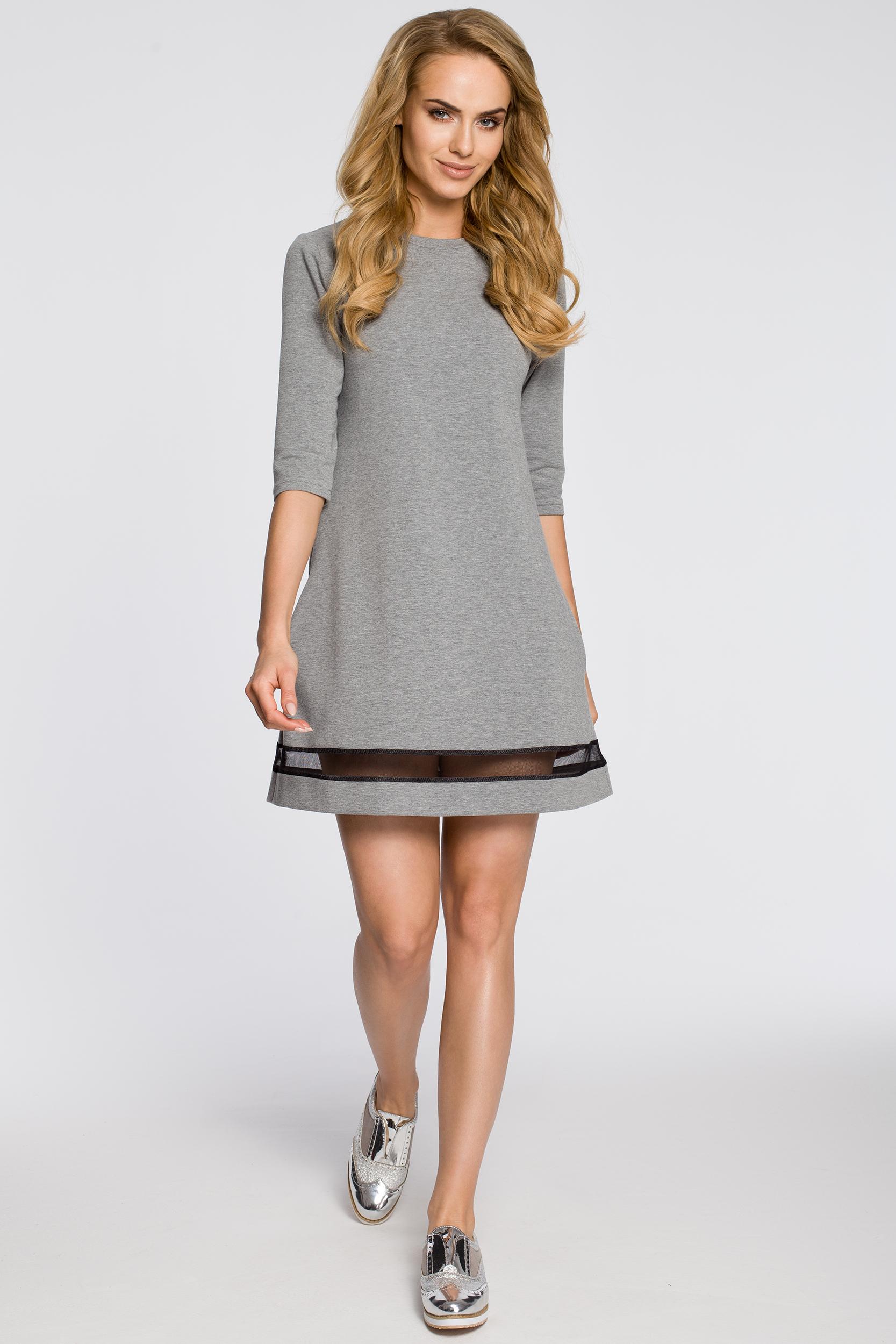 CM2221 Dzianinowa sukienka z tiulową wstawką - szara