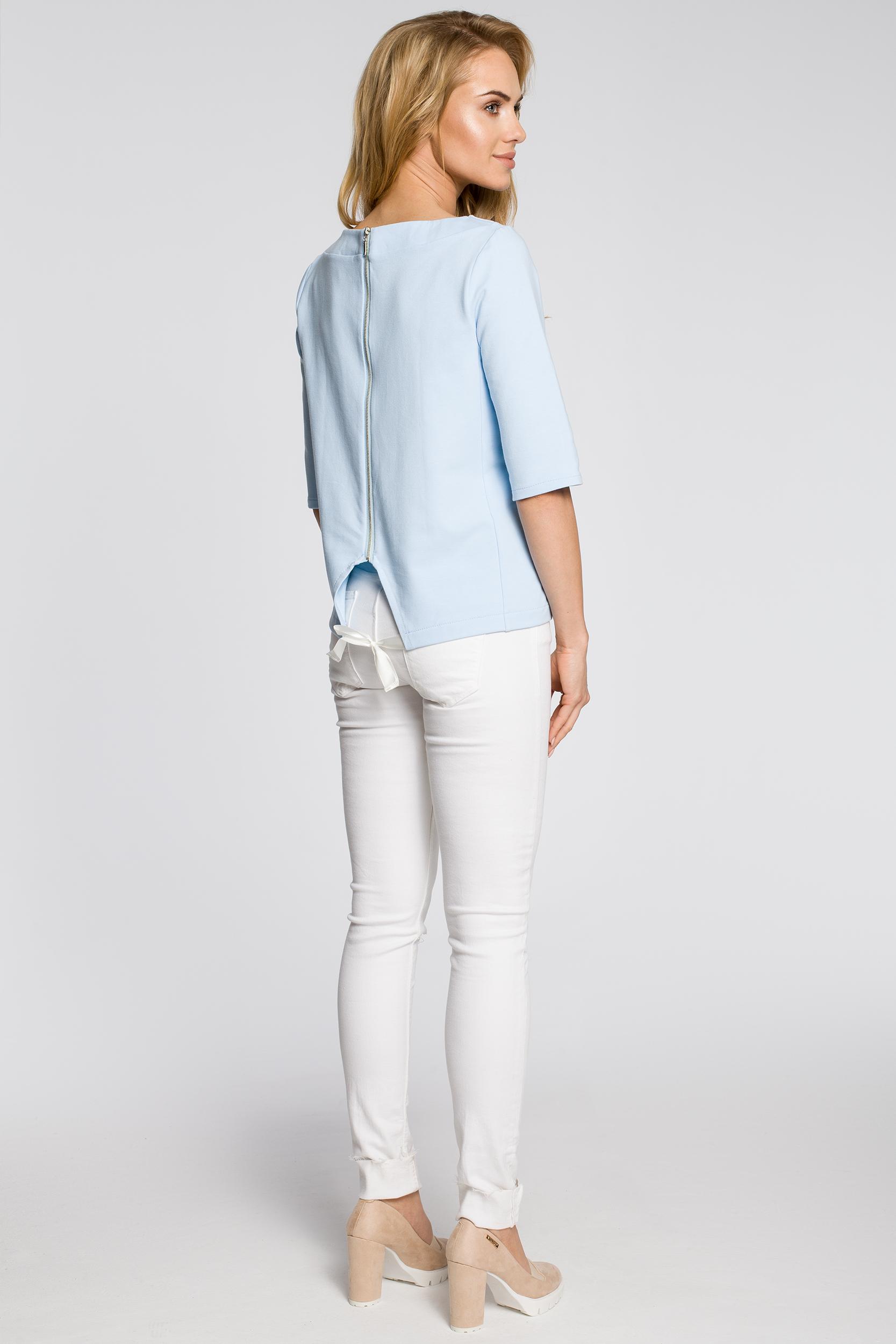 CM2219 Dresowa bluzka damska z wiązaniem na plecach - błękitna