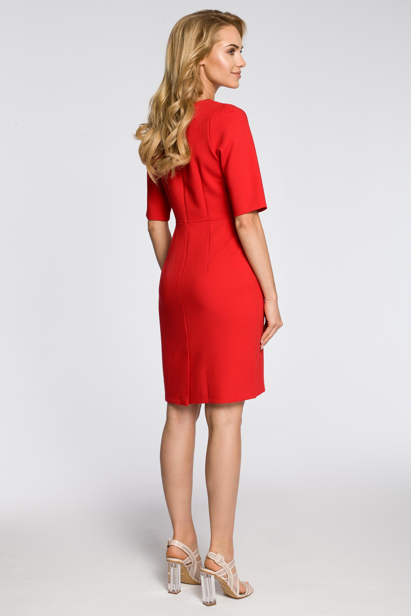 CM2217 Ołówkowa sukienka z krótkim rękawem - czerwona