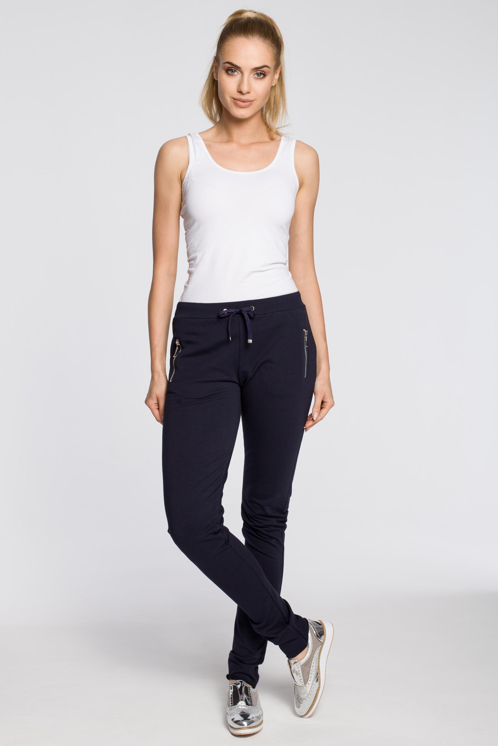 CM2210 Nowoczesne dresowe spodnie damskie - granatowe