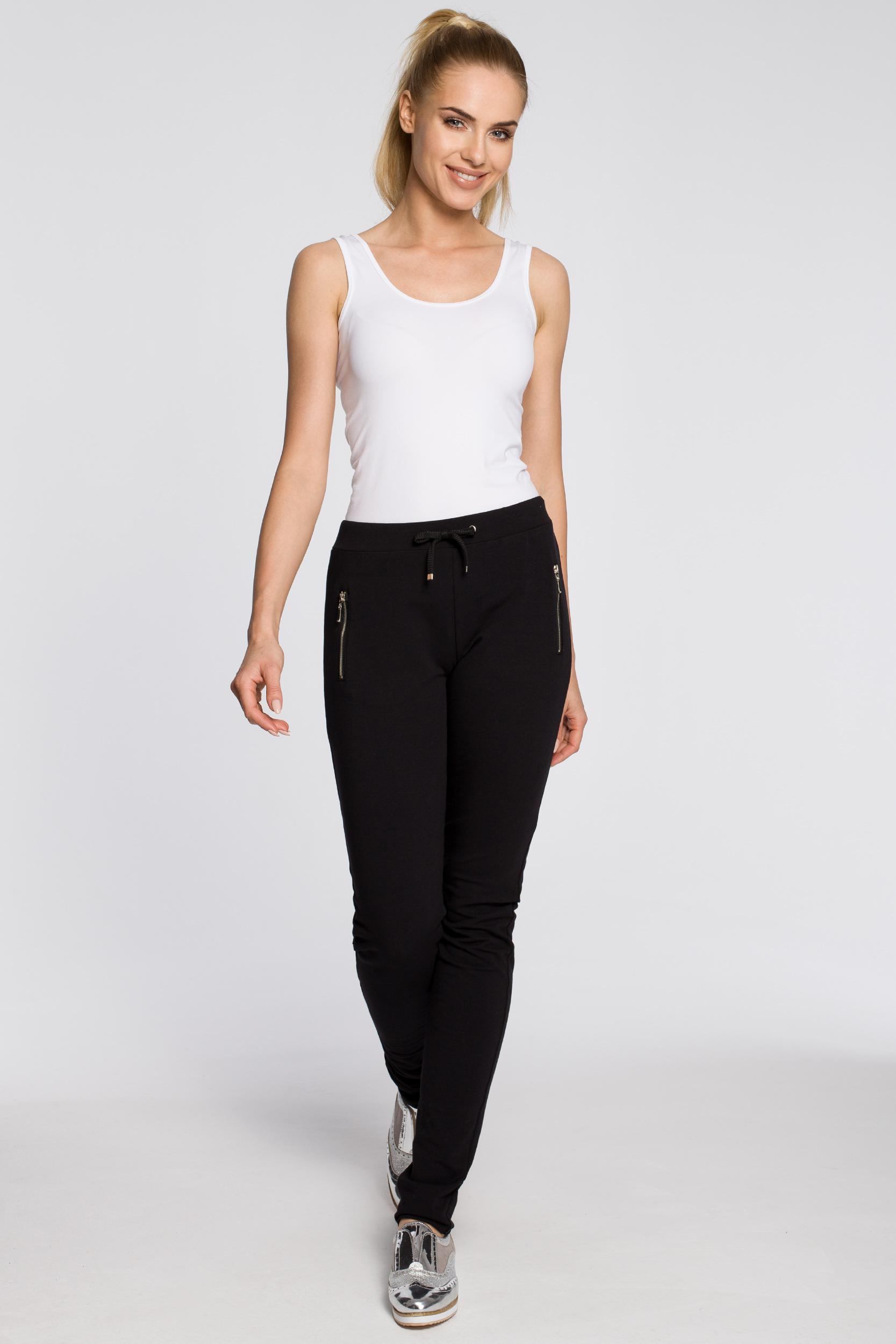 CM2210 Nowoczesne dresowe spodnie damskie - czarne