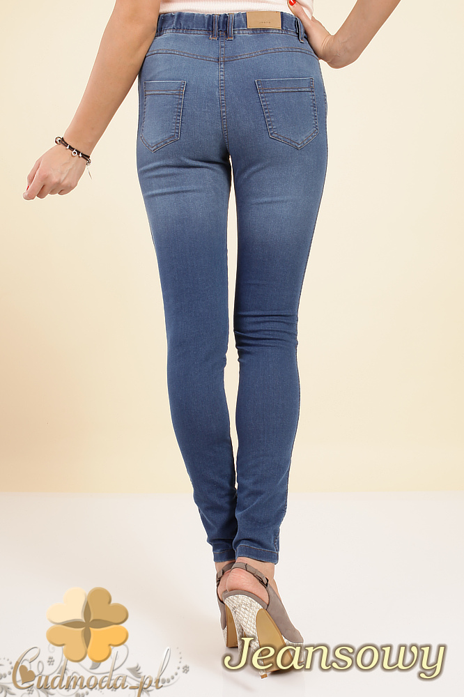 CM0197 Legginsy jeans z przetarciami na udach i pośladkach - jeansowe