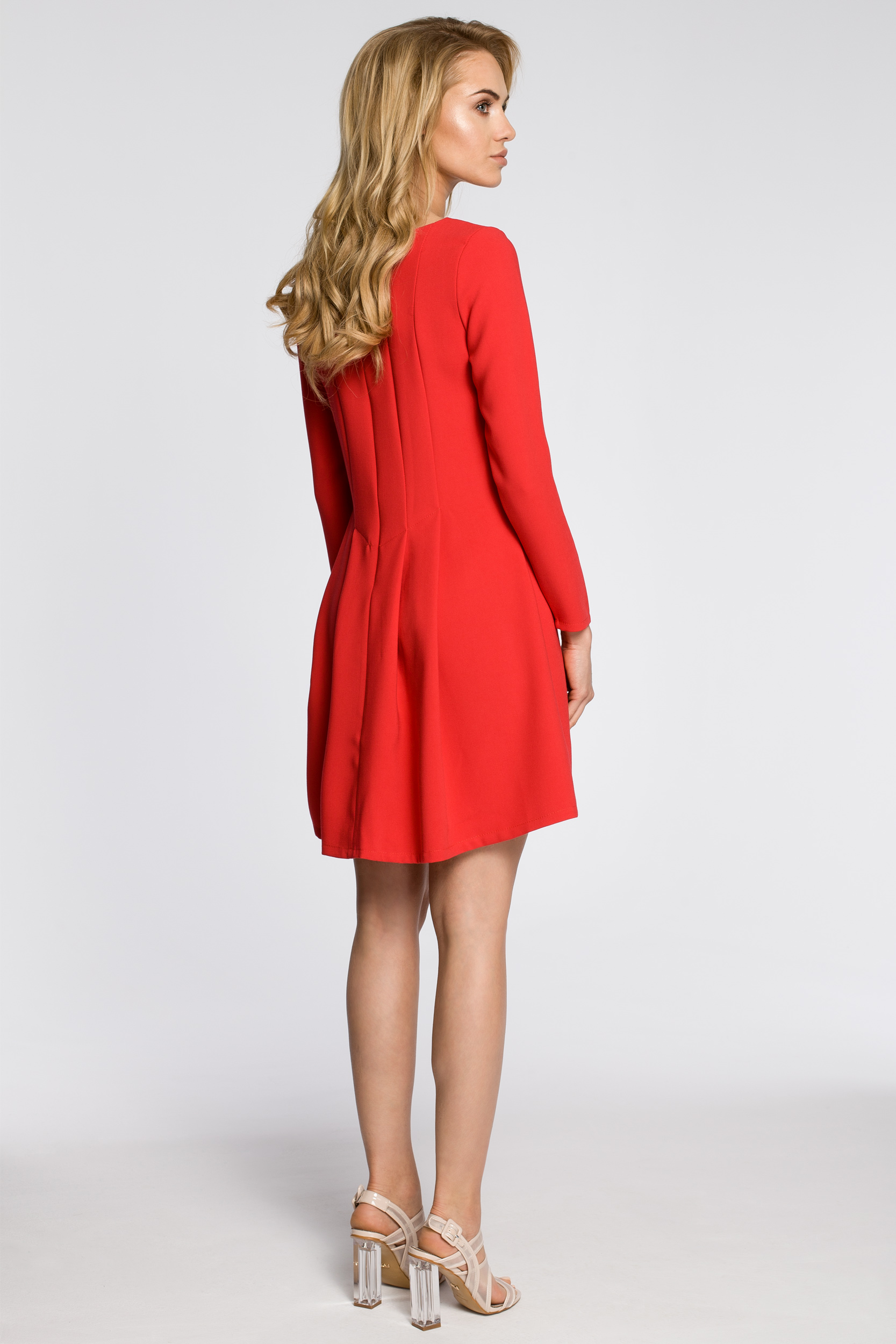 CM2053 Wizytowa sukienka na wesele studniówkę - czerwona