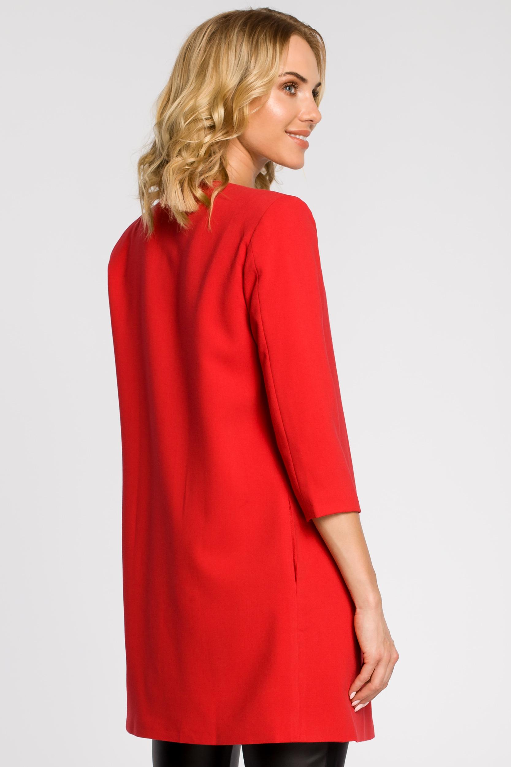 CM1873 Prosty niezapinany żakiet damski midi - czerwony