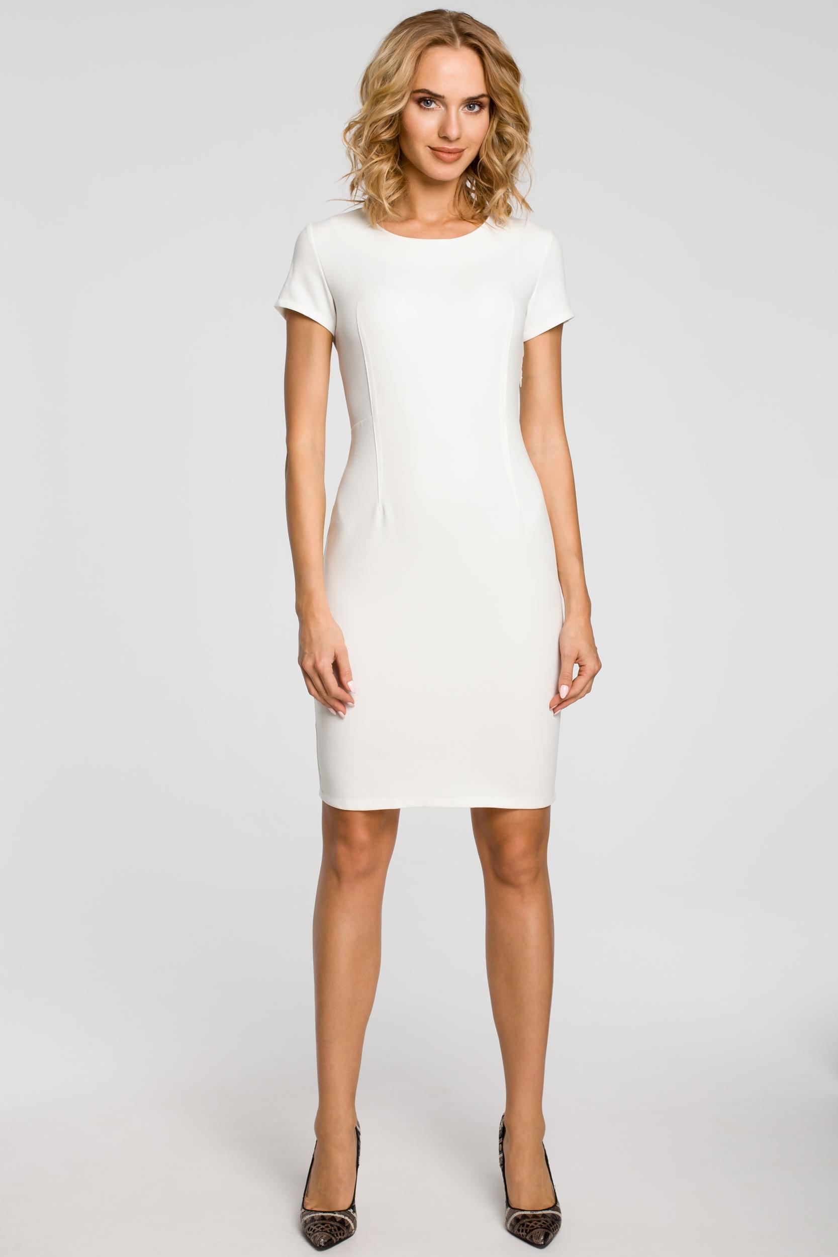 CM1800 Klasyczna gładka sukienka wieczorowa - ecru