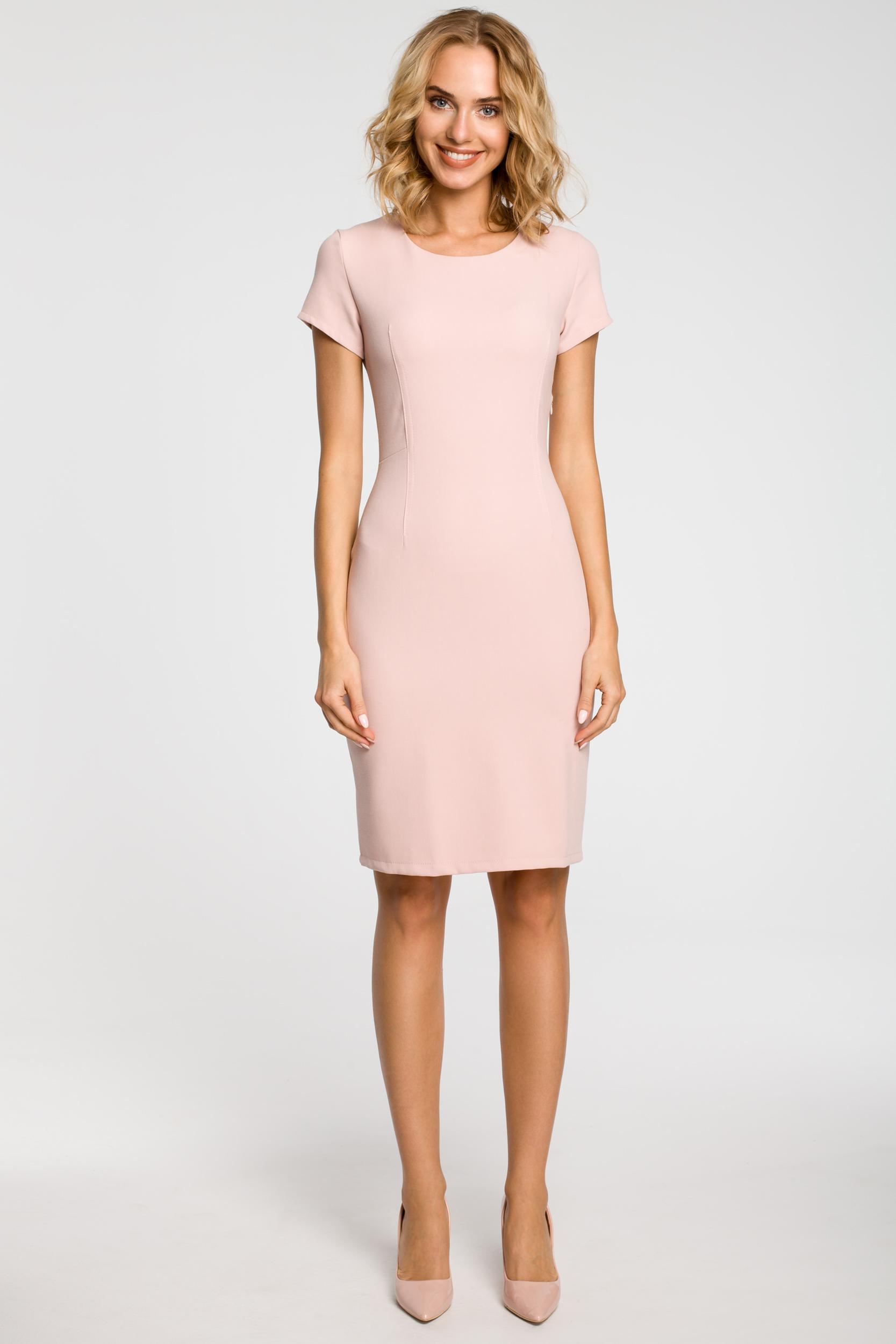 CM1800 Klasyczna gładka sukienka wieczorowa - pudrowa