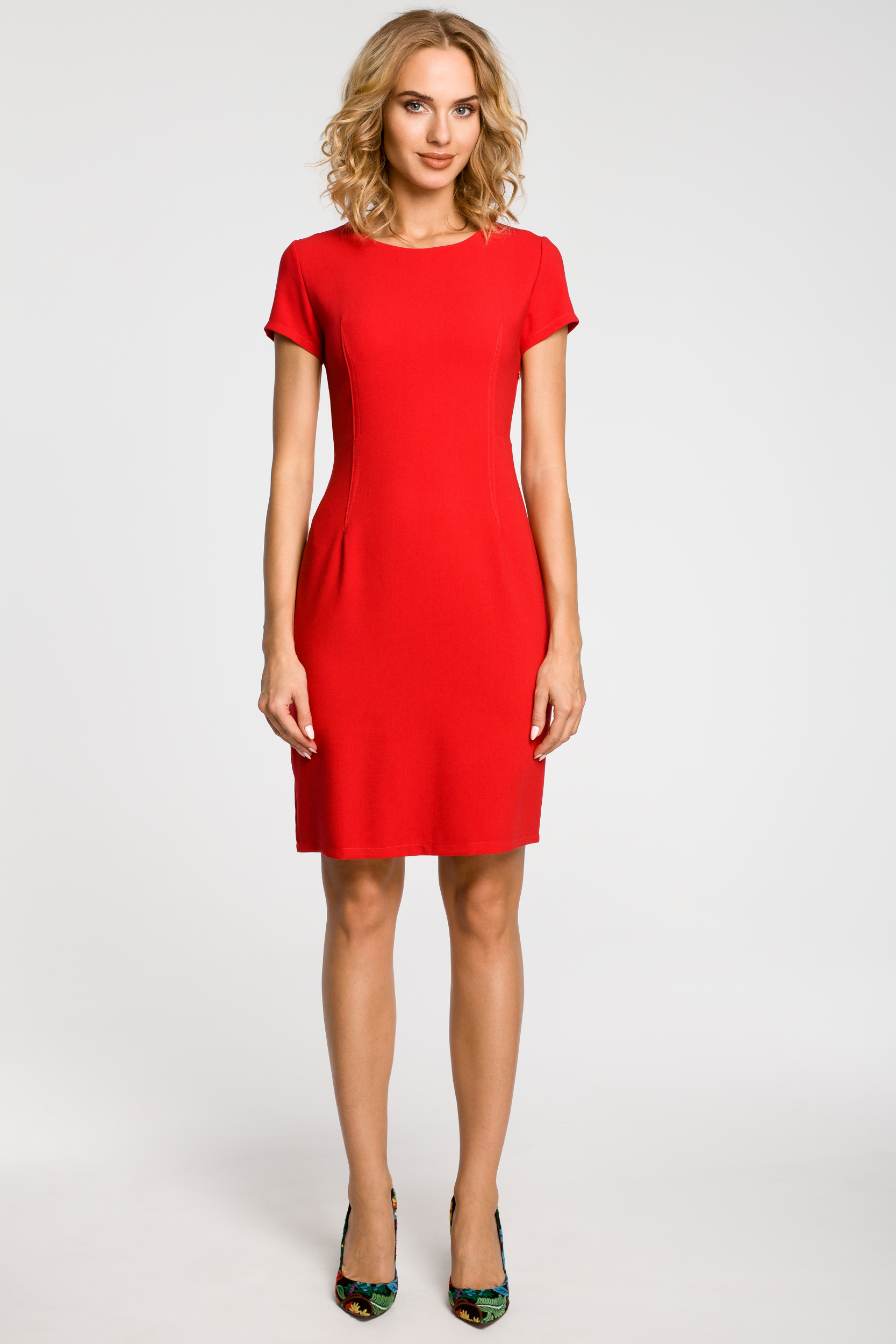 CM1800 Klasyczna gładka sukienka wieczorowa - czerwona