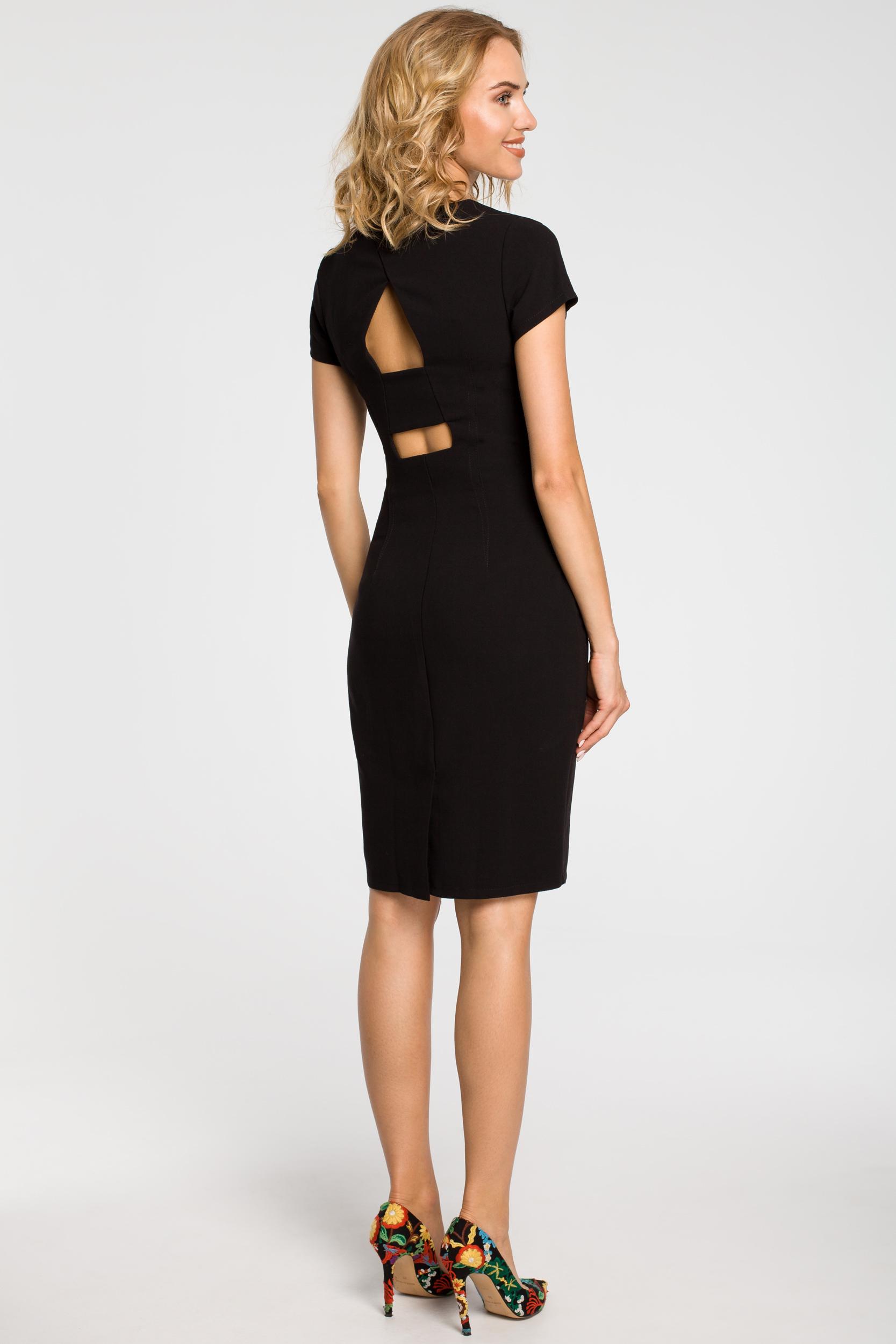 CM1800 Klasyczna gładka sukienka wieczorowa - czarna