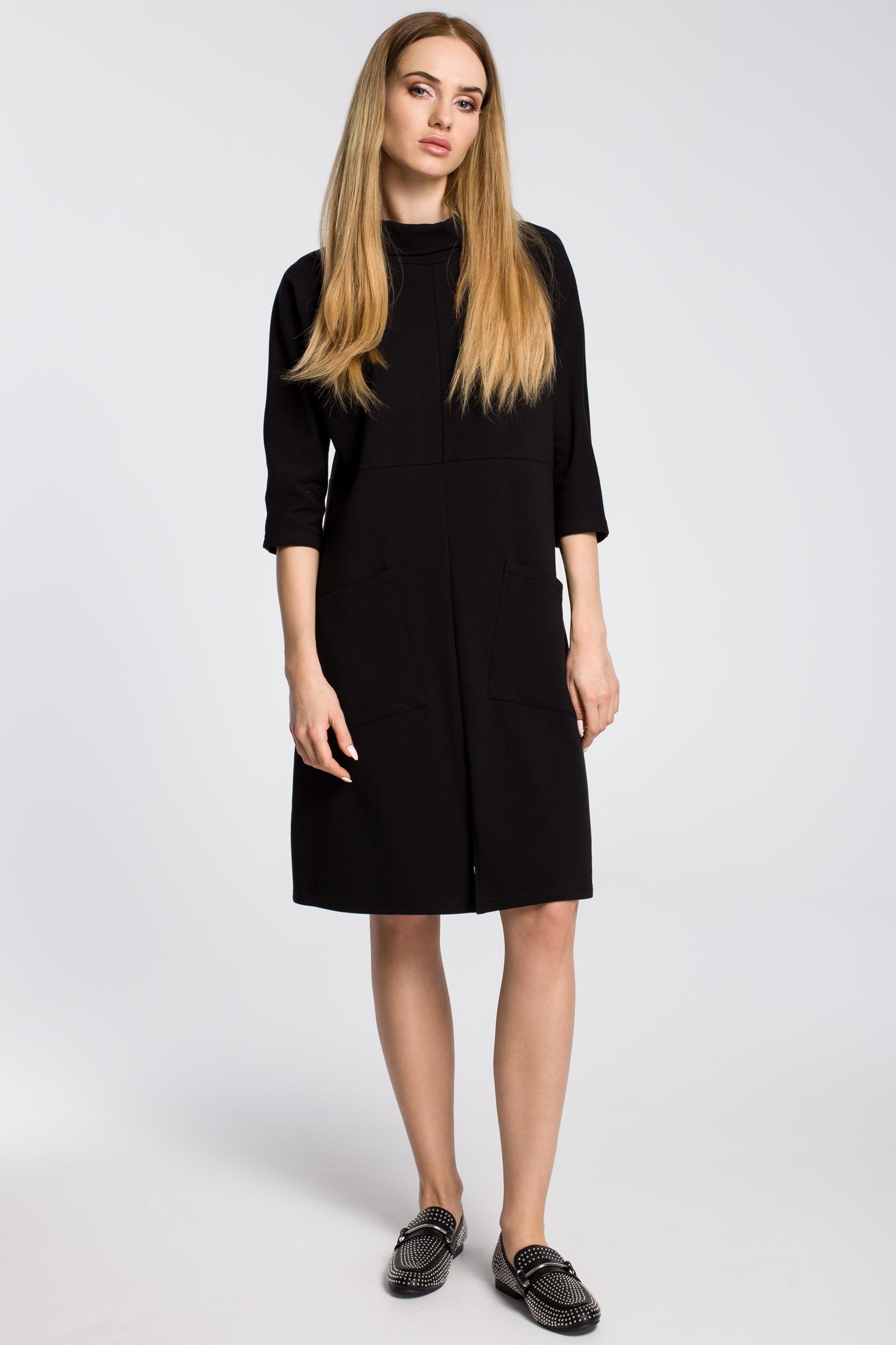 CM3581 Sukienka oversize z ukośnymi kieszeniami - czarna