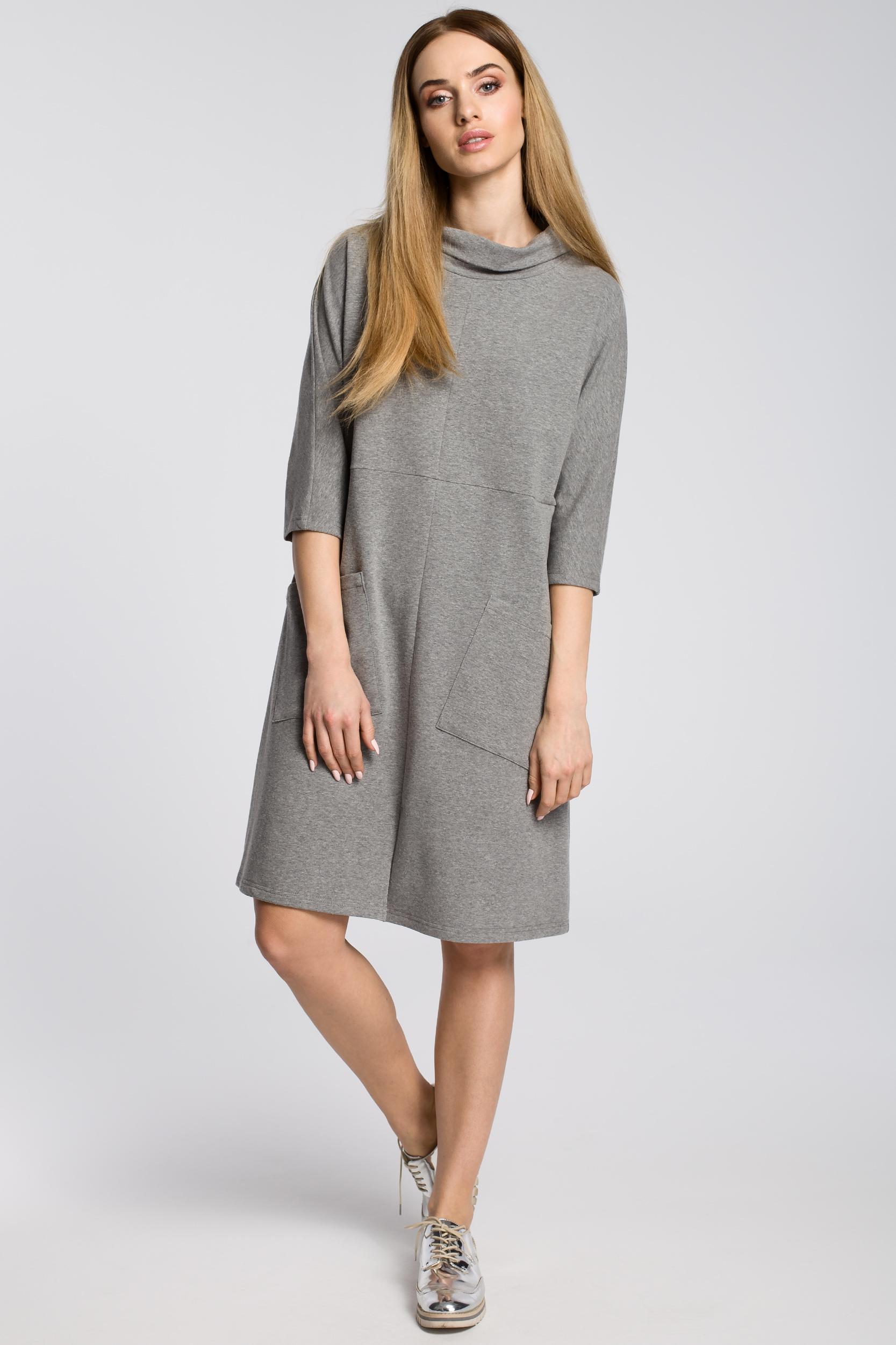 ad22d370 Sukienka oversize z ukośnymi kieszeniami - szara - Cudmoda