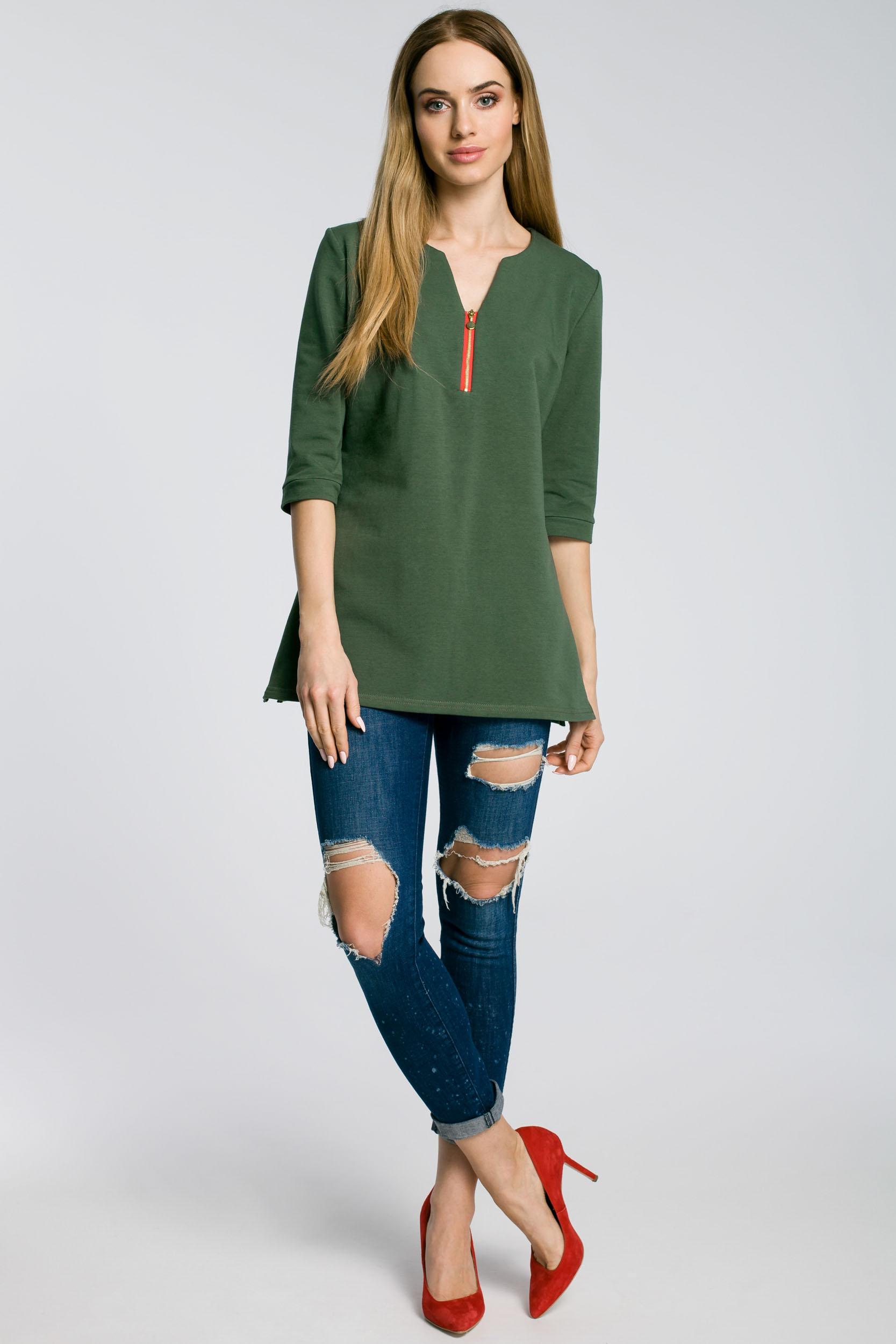 CM3584 Stylowa bluzka damska z zamkiem - militarno zielona