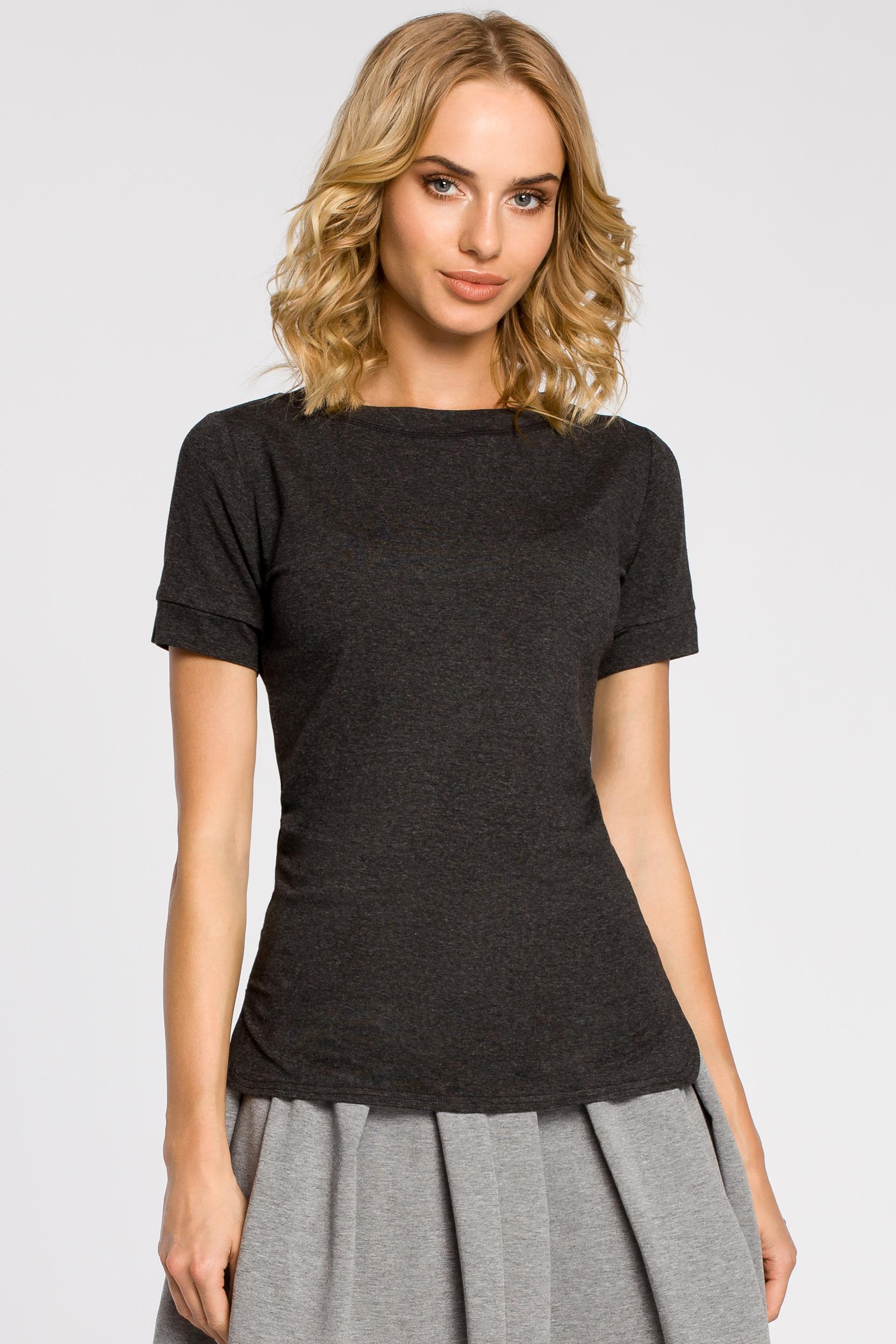 CM1558 Klasyczna koszulka damska z krótkim rękawem - grafitowa
