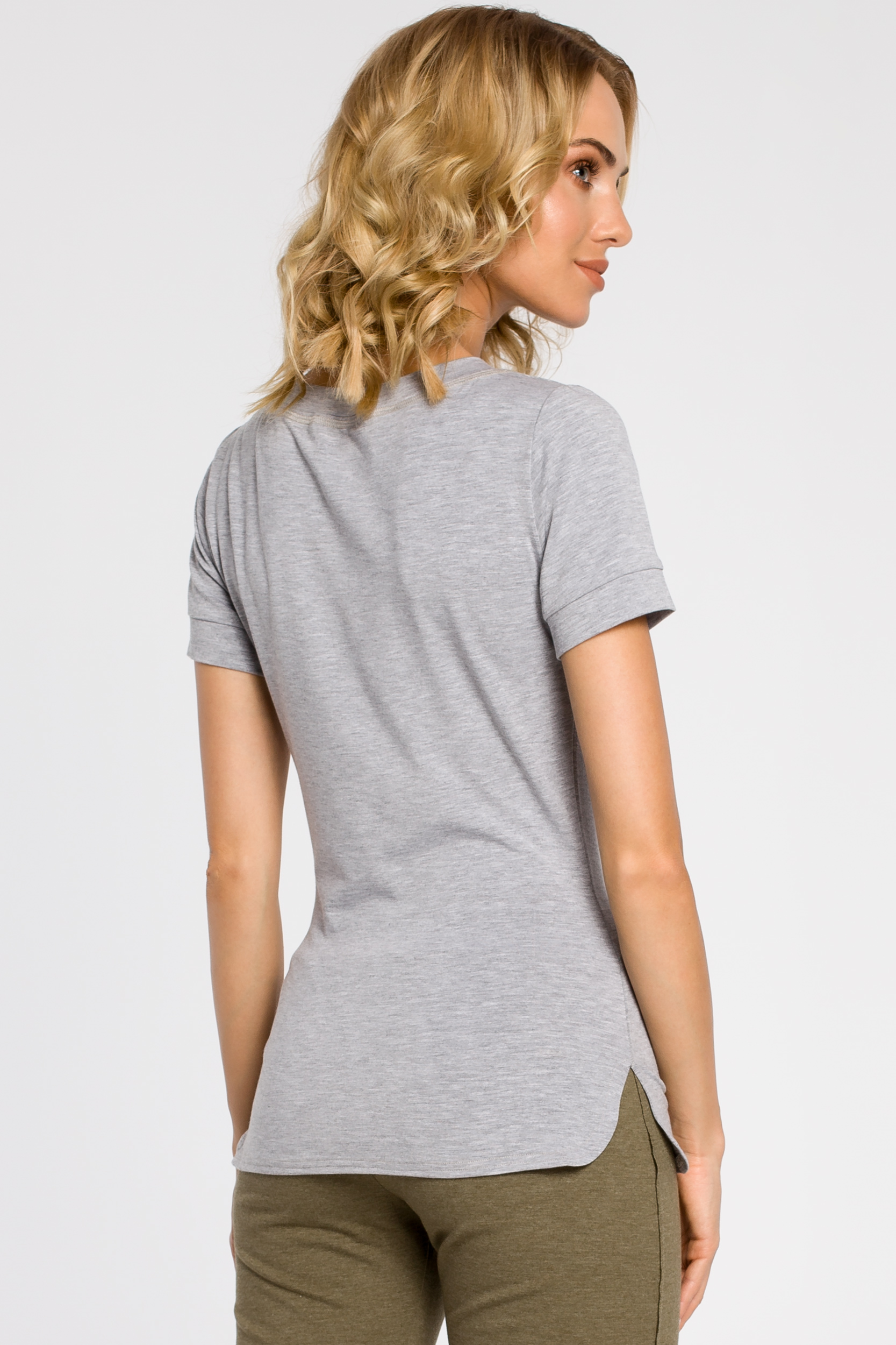 CM1558 Klasyczna koszulka damska z krótkim rękawem - szara