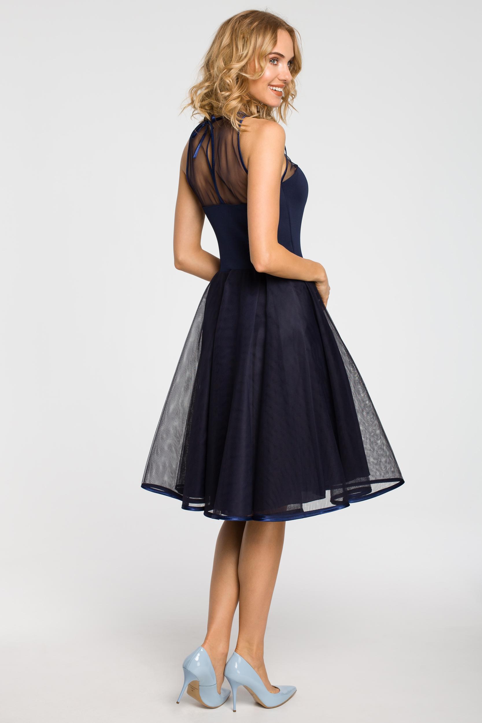 CM1183 Wieczorowa sukienka z dopasowaną górą - granatowa